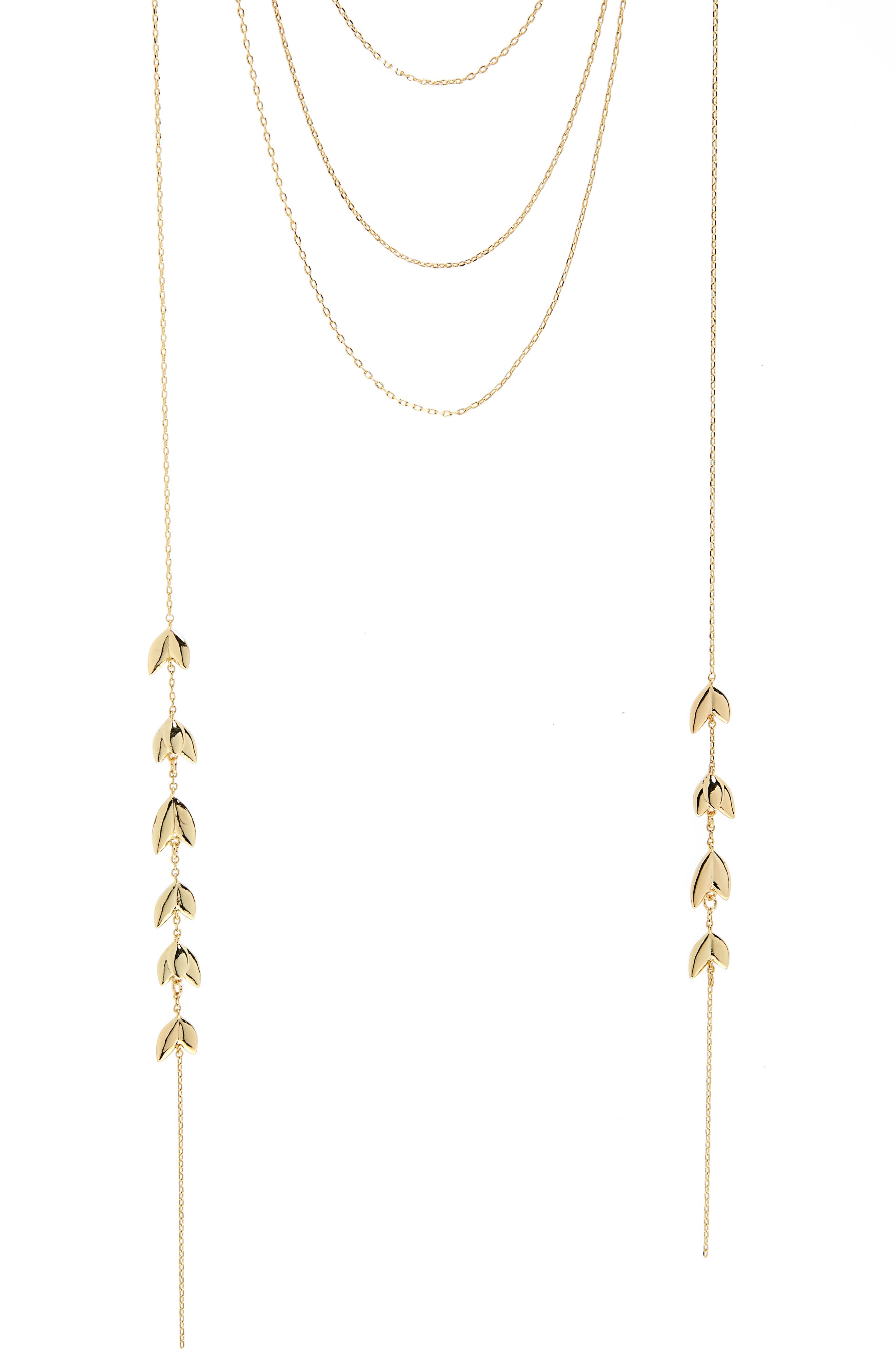 Layered Lariat Necklace,                             Alternate thumbnail 2, color,                             Gold