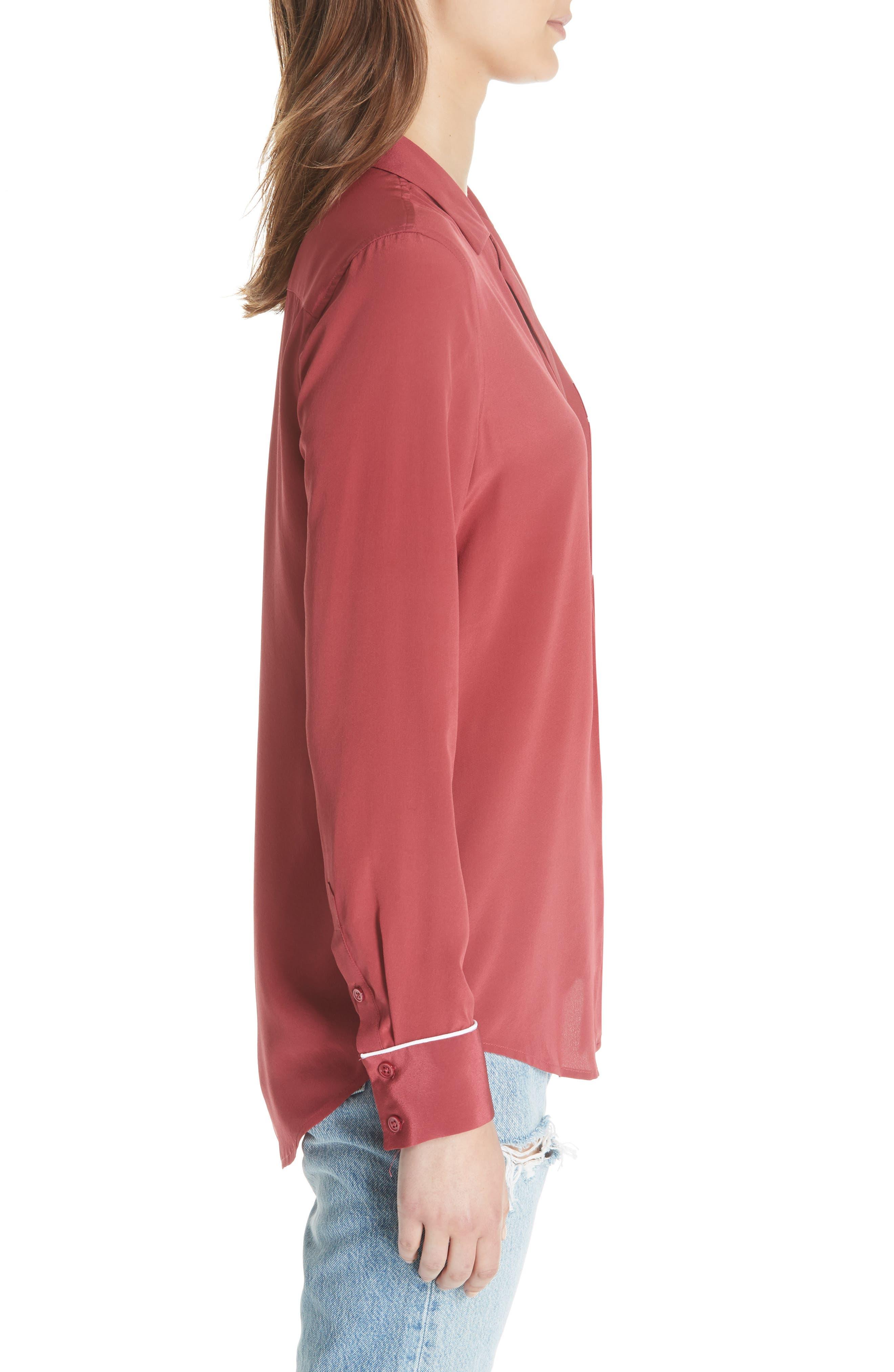 Keira Piped Silk Shirt,                             Alternate thumbnail 4, color,                             Pinot Noir