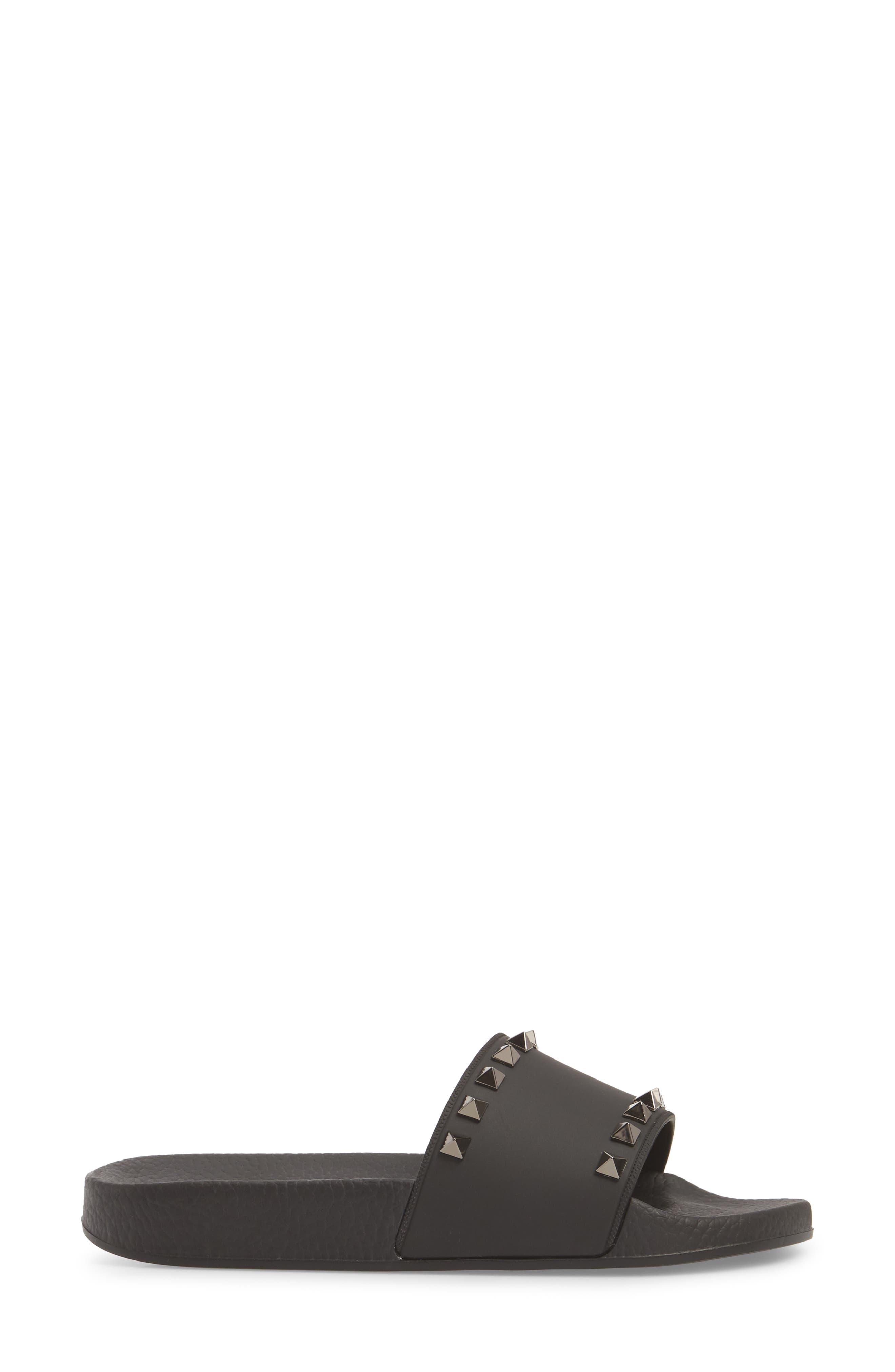 Rockstud Slide Sandal,                             Alternate thumbnail 3, color,                             Nero/ Nero