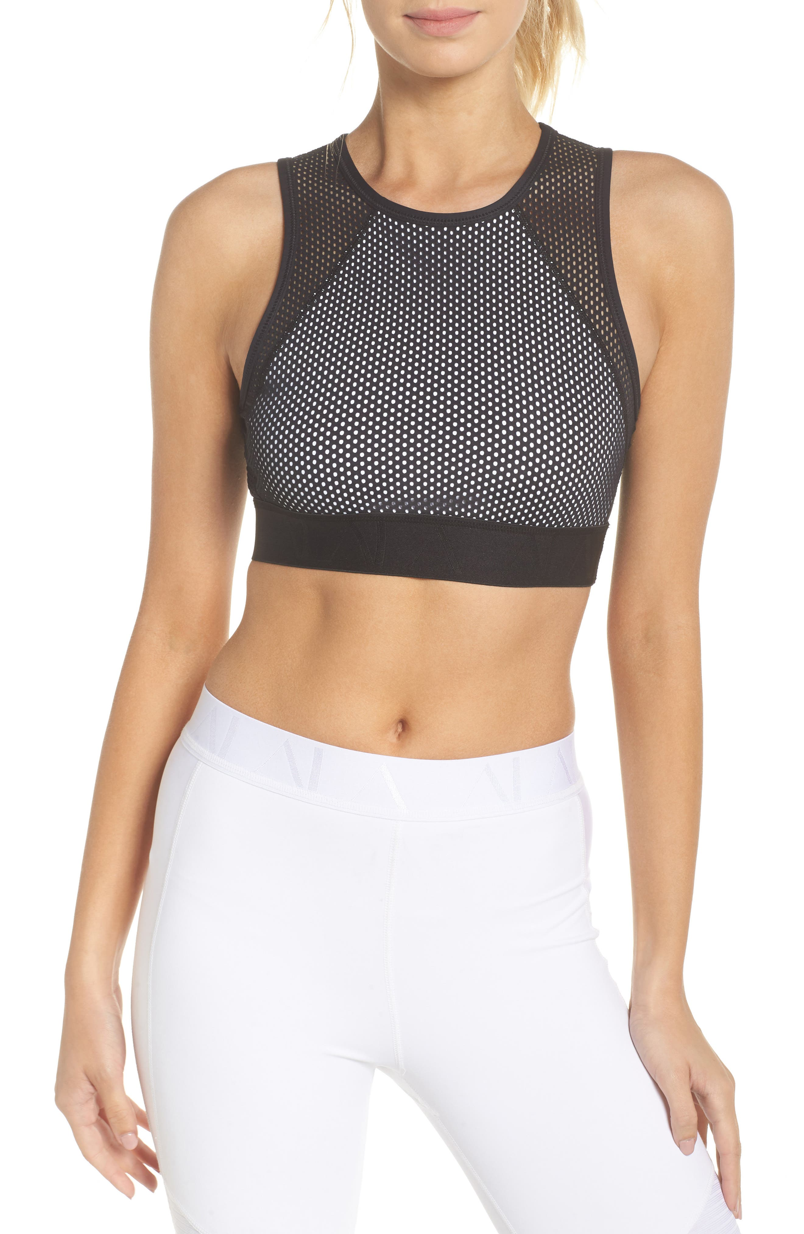 Swell Crop Tank,                         Main,                         color, Black/ White