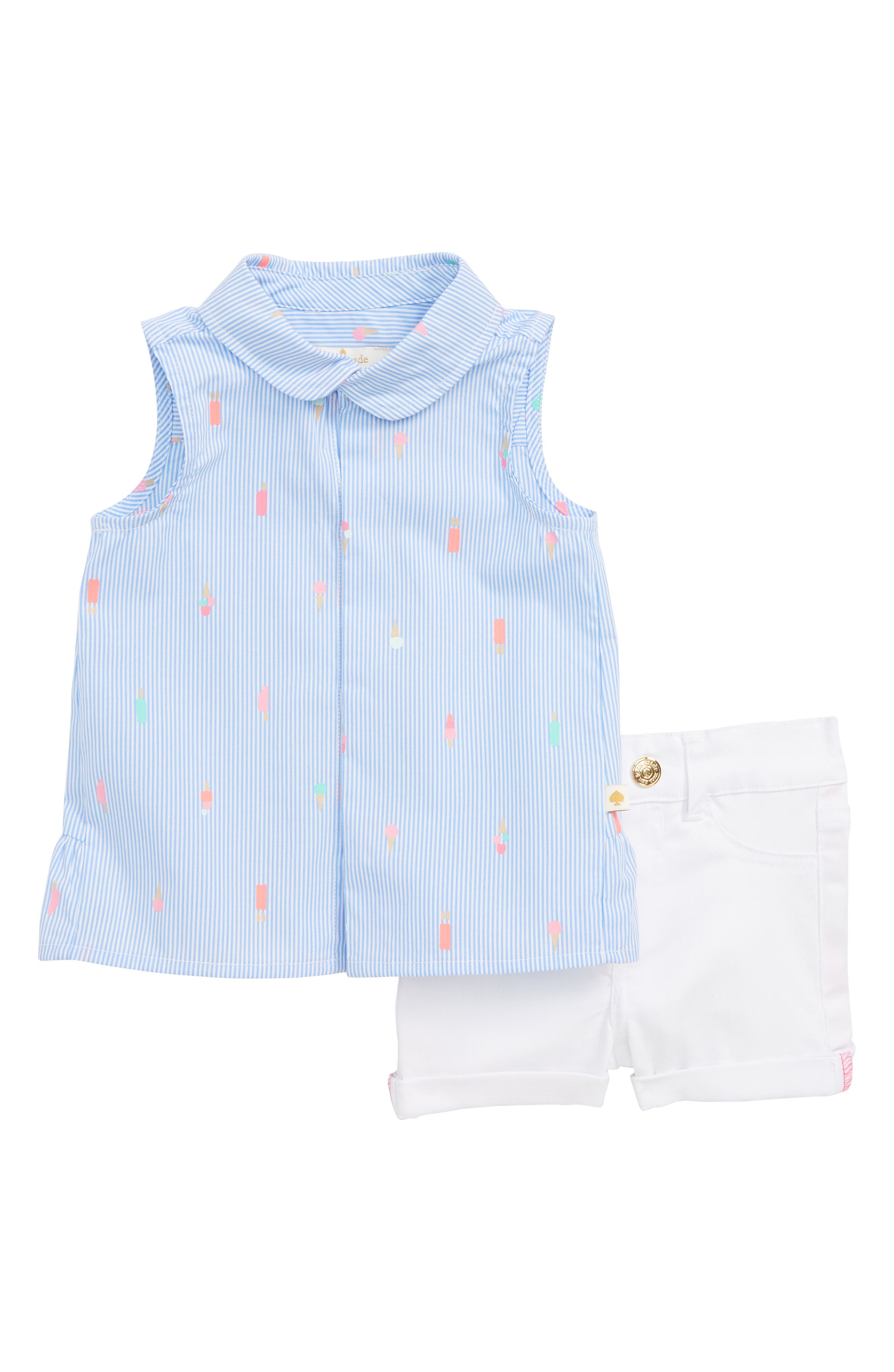 kate spade new york mini ice pops sleeveless top & denim shorts set (Baby Girls)