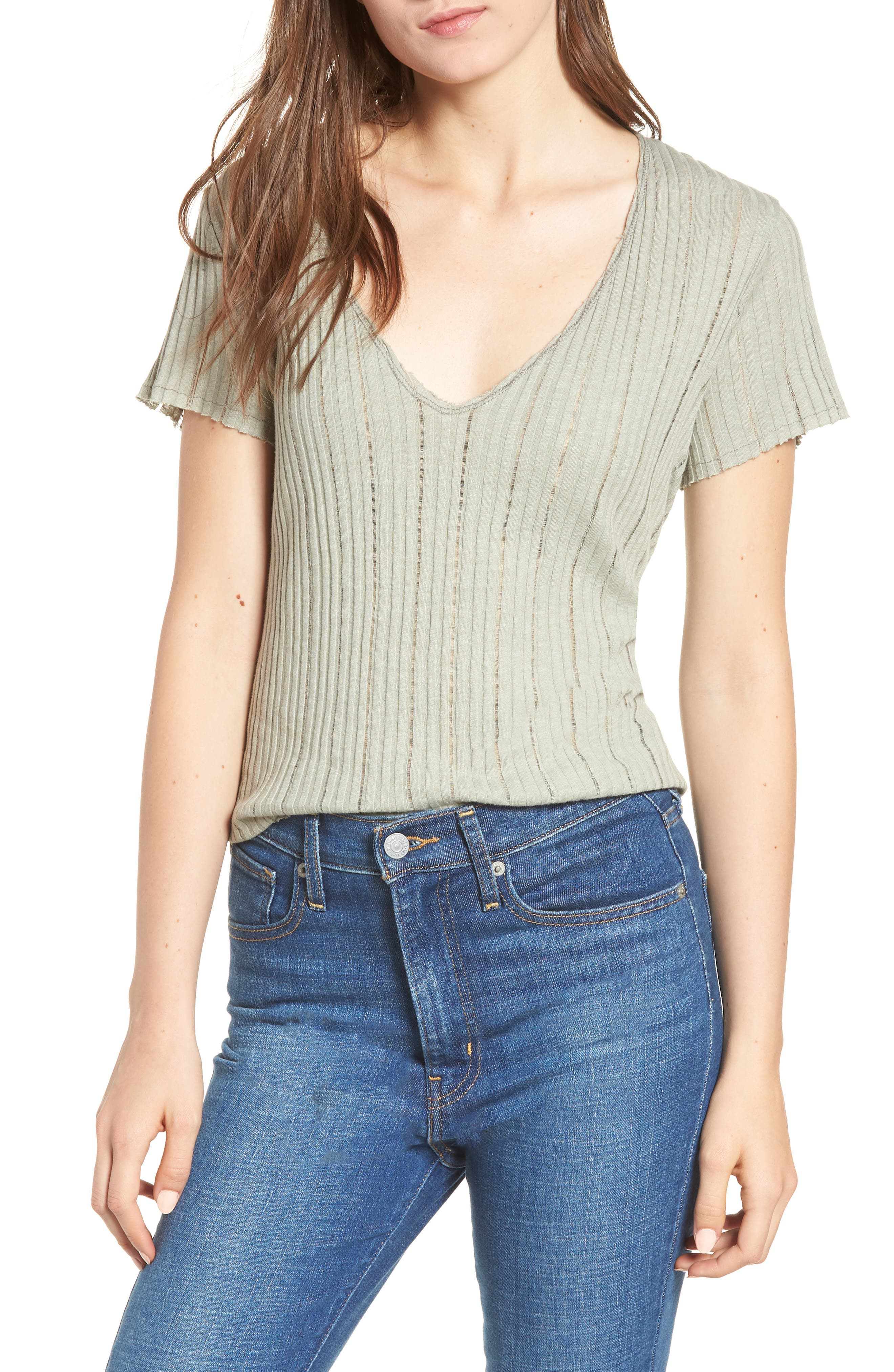 Ribbed Tee,                         Main,                         color, Moss