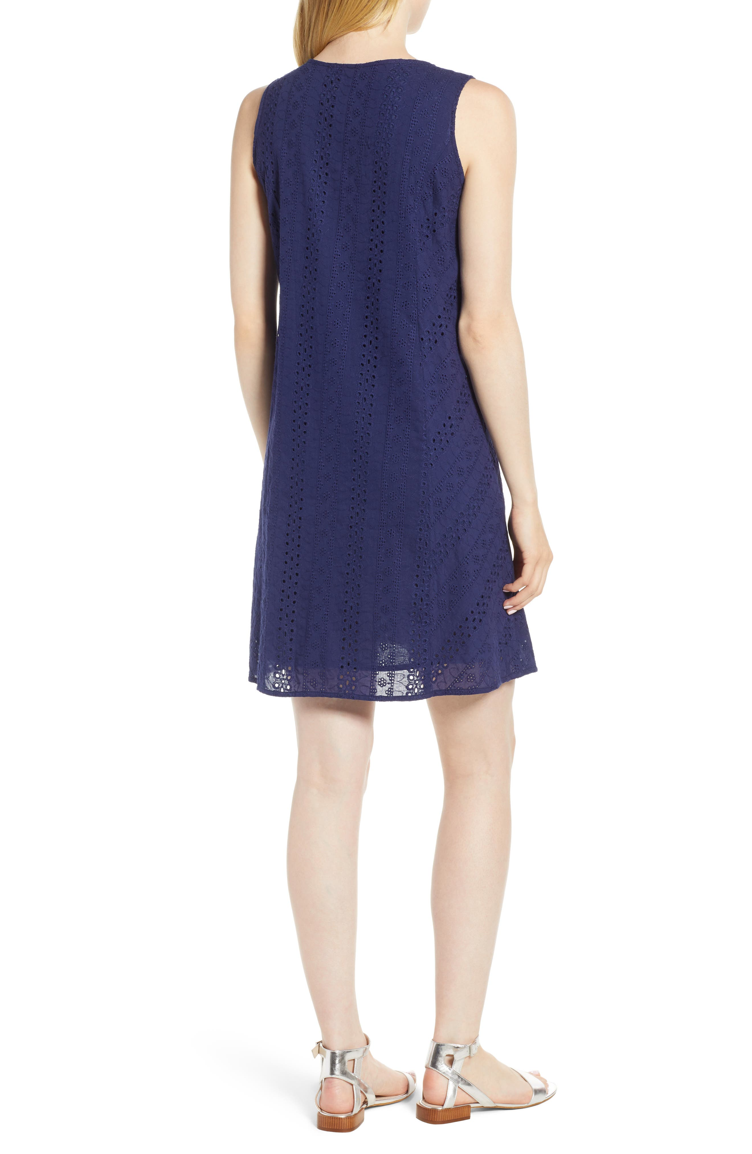 Eyelet Shift Dress,                             Alternate thumbnail 2, color,                             Navy