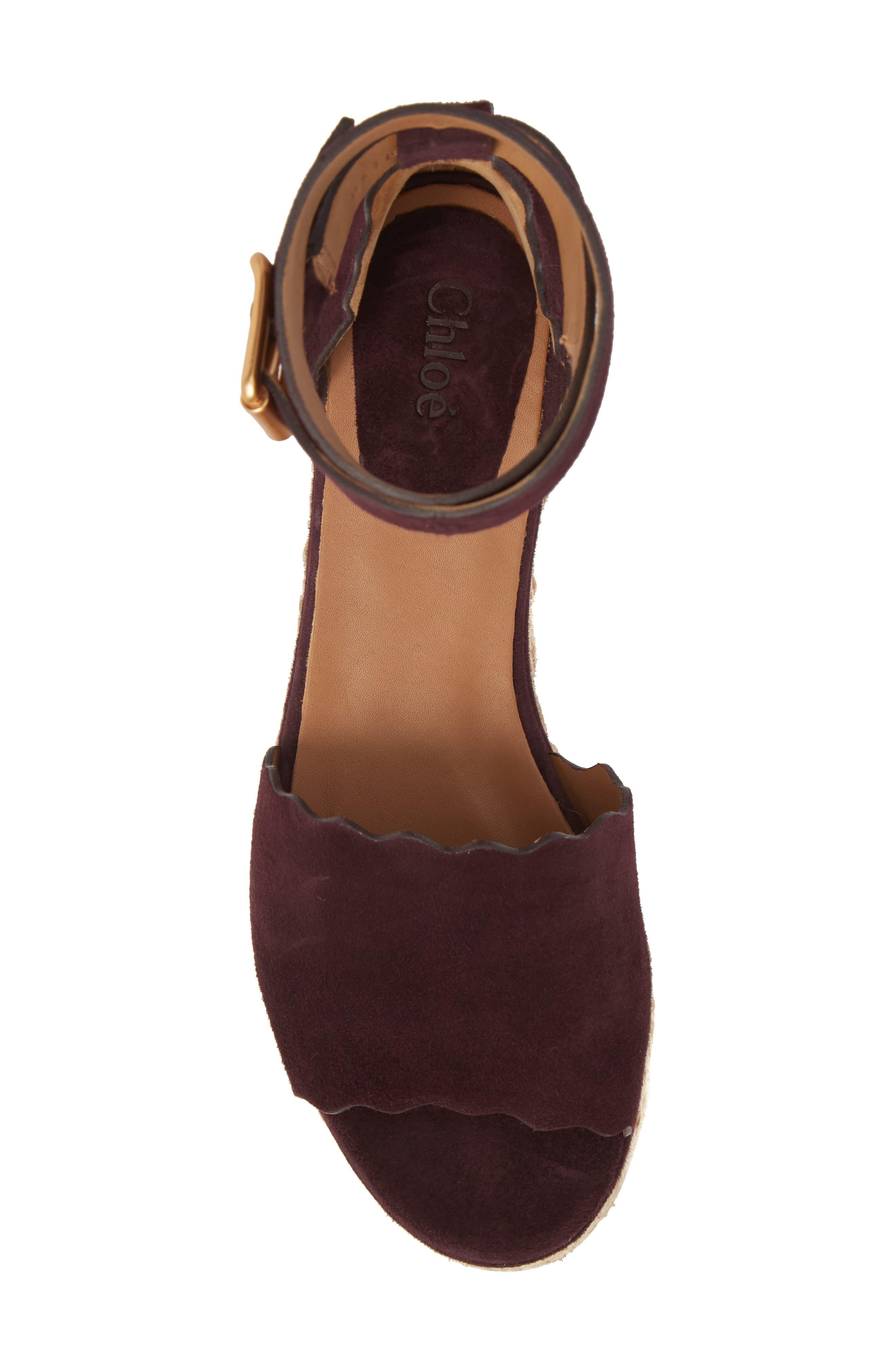 Lauren Espadrille Wedge Sandal,                             Alternate thumbnail 5, color,                             Dark Purple