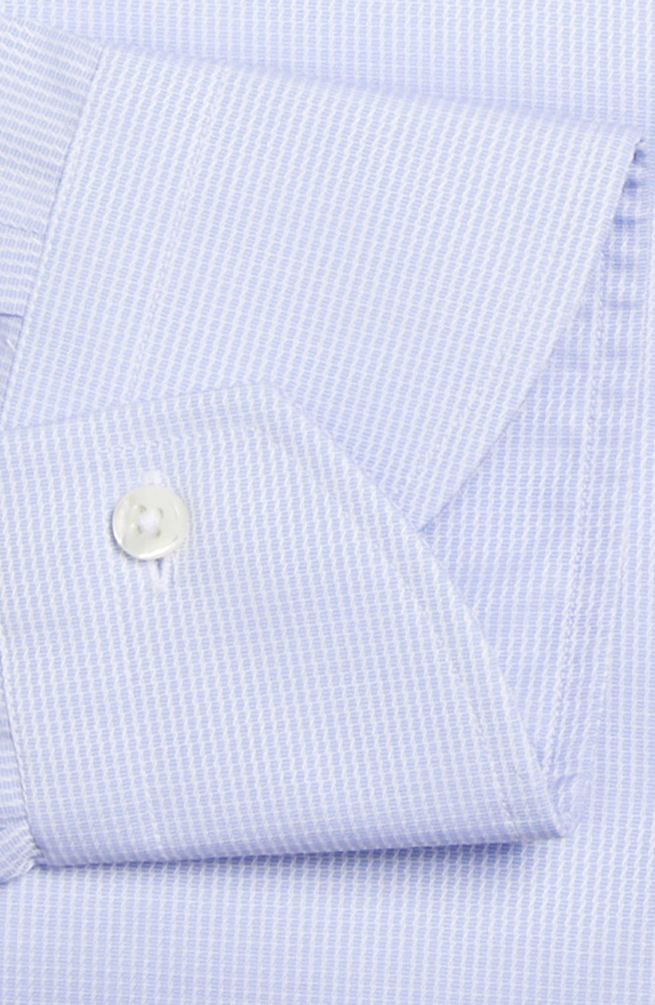 Regular Fit Print Dress Shirt,                             Alternate thumbnail 5, color,                             Blue