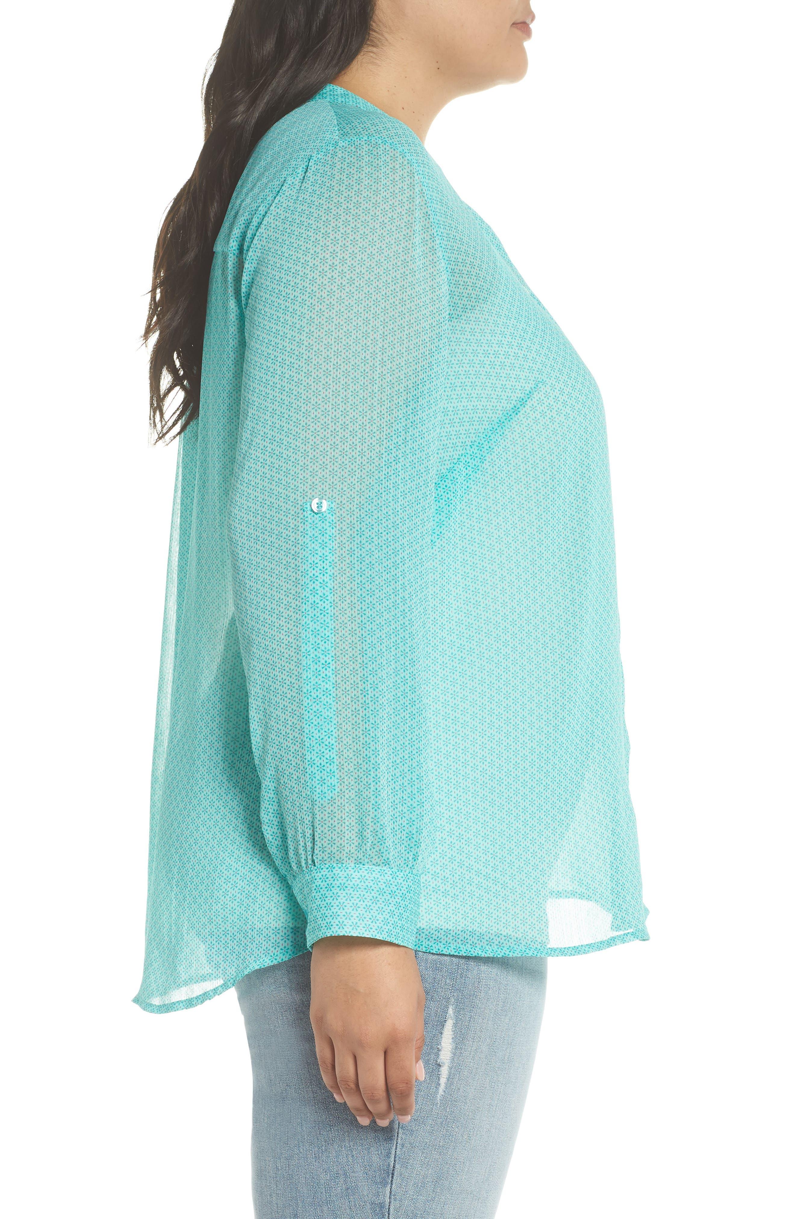 Jasmine Roll Sleeve Top,                             Alternate thumbnail 3, color,                             Mint