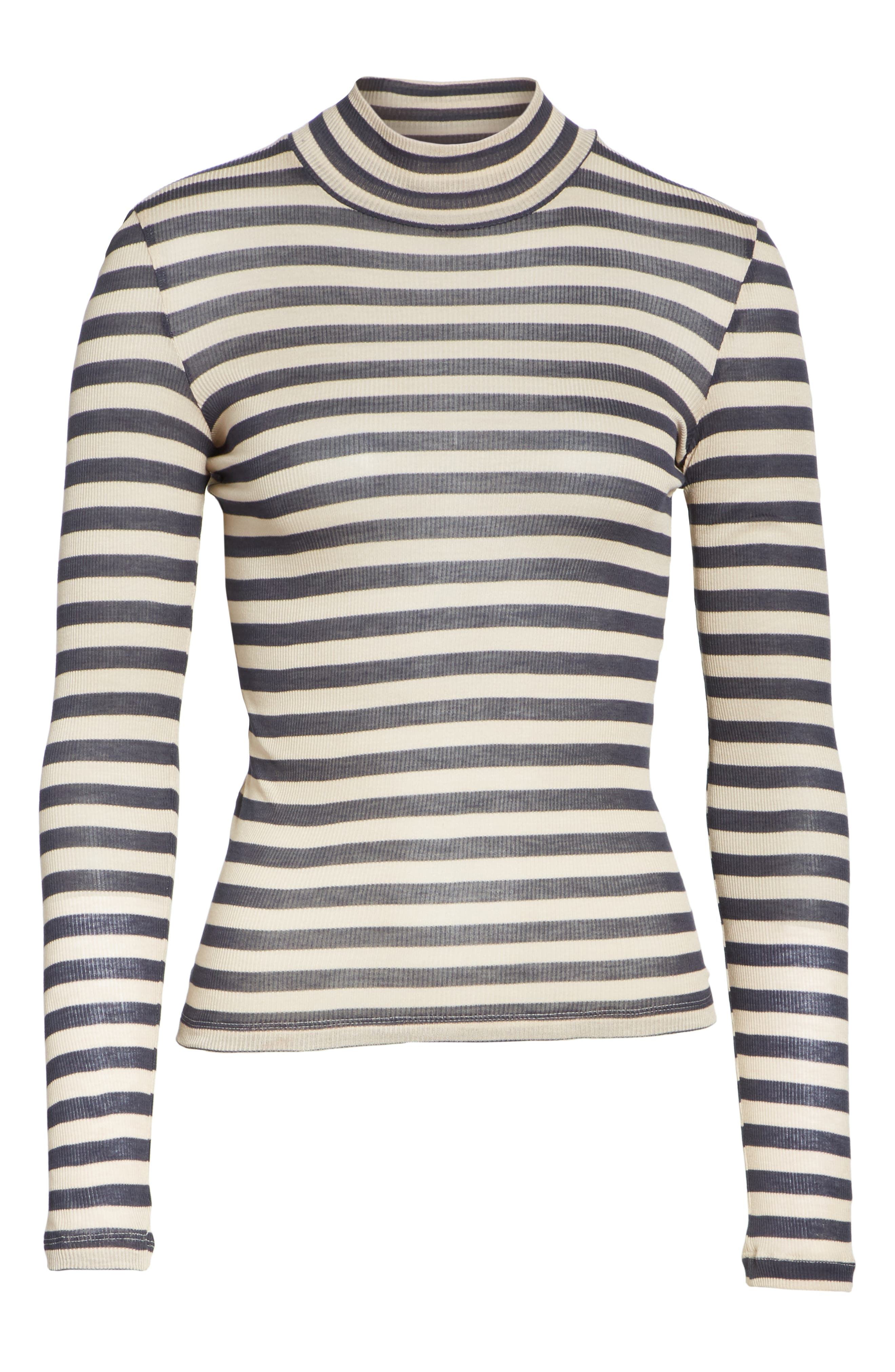Alana Stripe Mock Neck Top,                             Alternate thumbnail 6, color,                             Navy Stripe