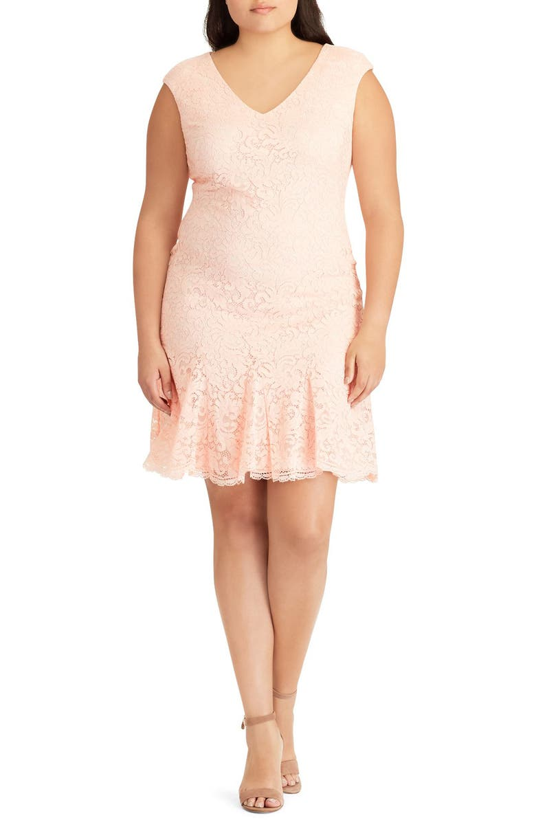 Francy Ruffle Hem Lace Dress
