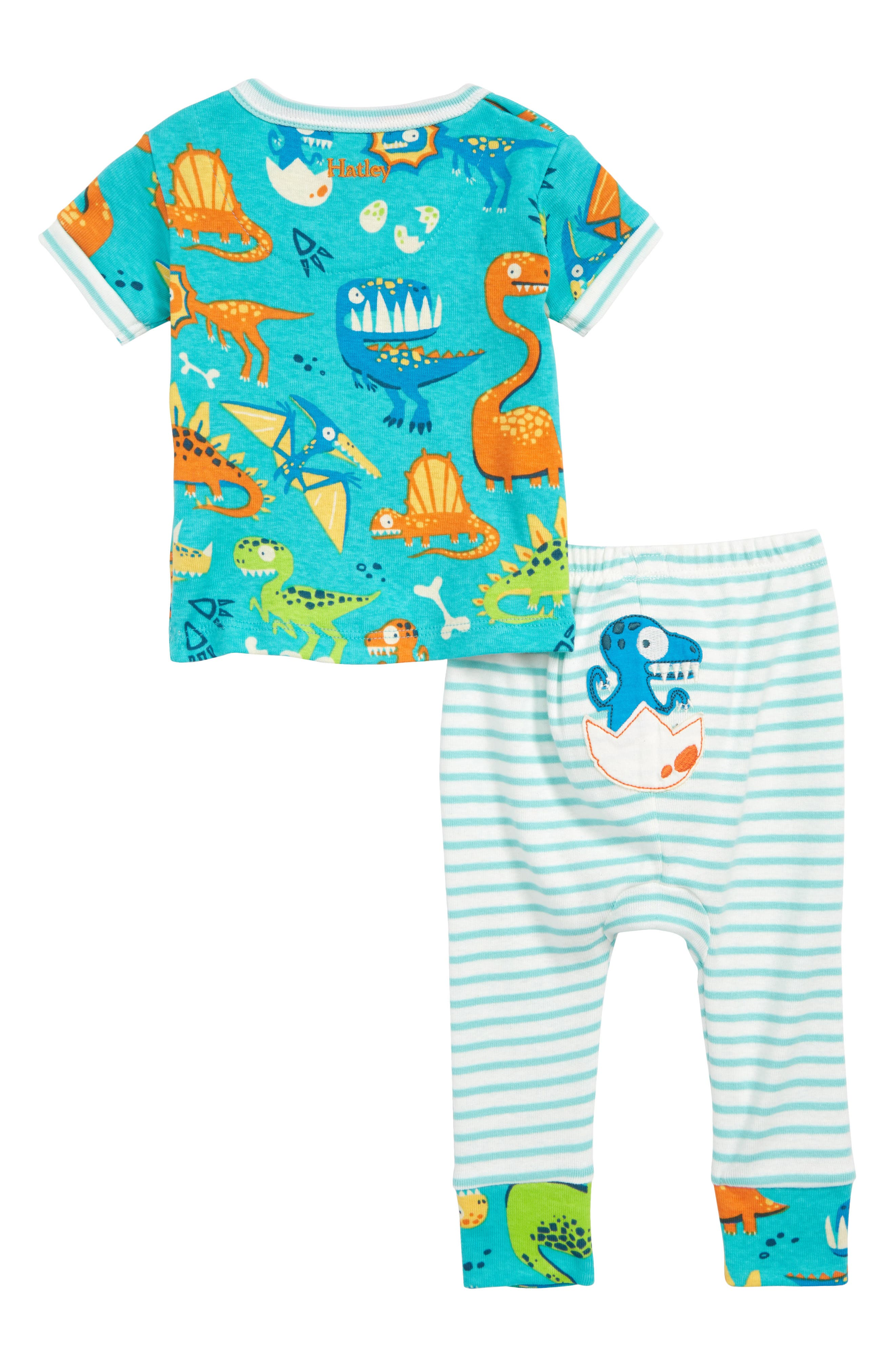 Organic Cotton Fitted Two-Piece Pajamas,                             Alternate thumbnail 2, color,                             Dinosaur Land