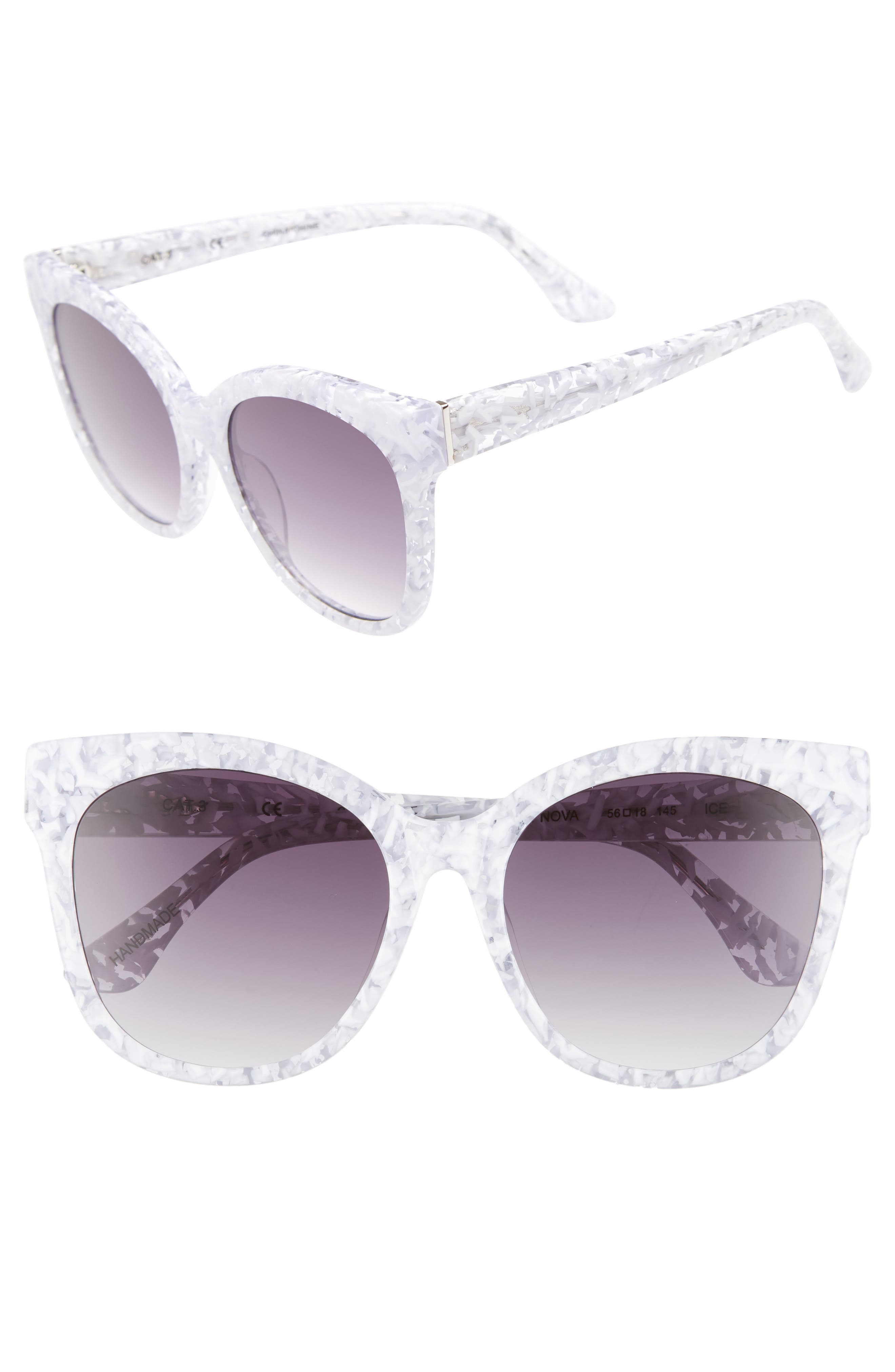 Bossa Nova 57mm Cat Eye Sunglasses,                         Main,                         color, White Speckle