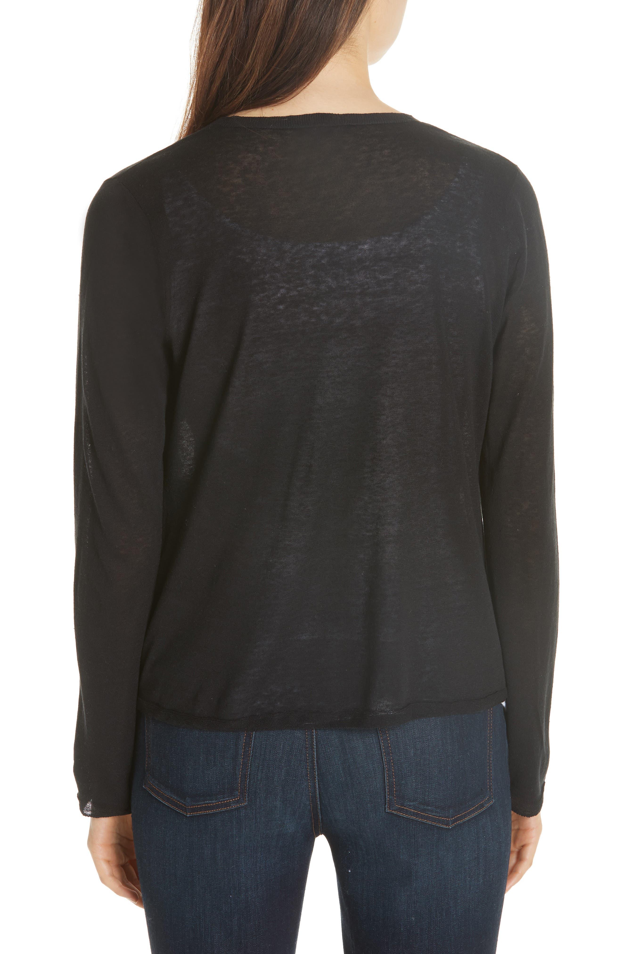 Angle Front Silk Blend Cardigan,                             Alternate thumbnail 2, color,                             Black