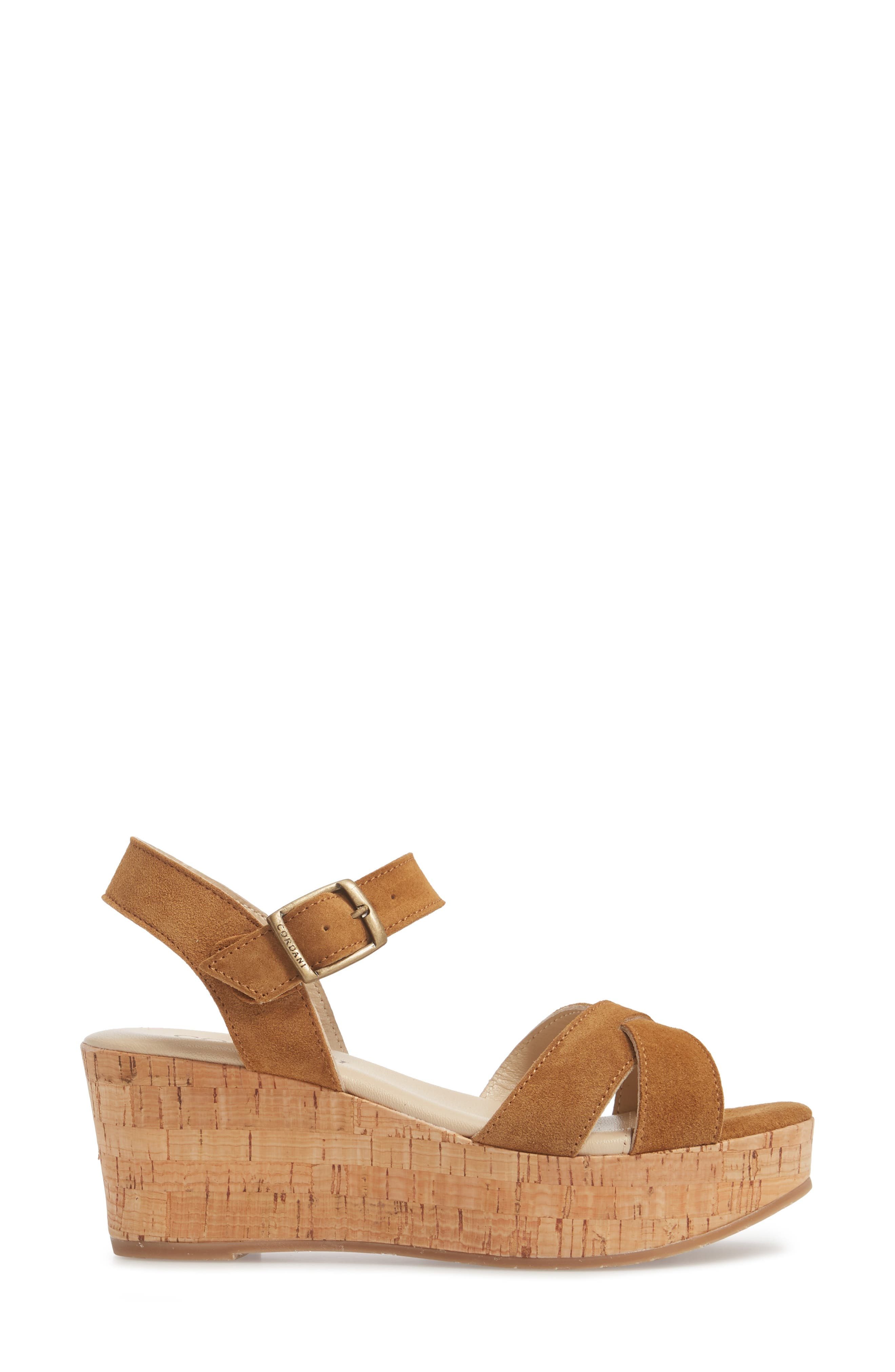 Candy Wedge Sandal,                             Alternate thumbnail 3, color,                             Cola Suede