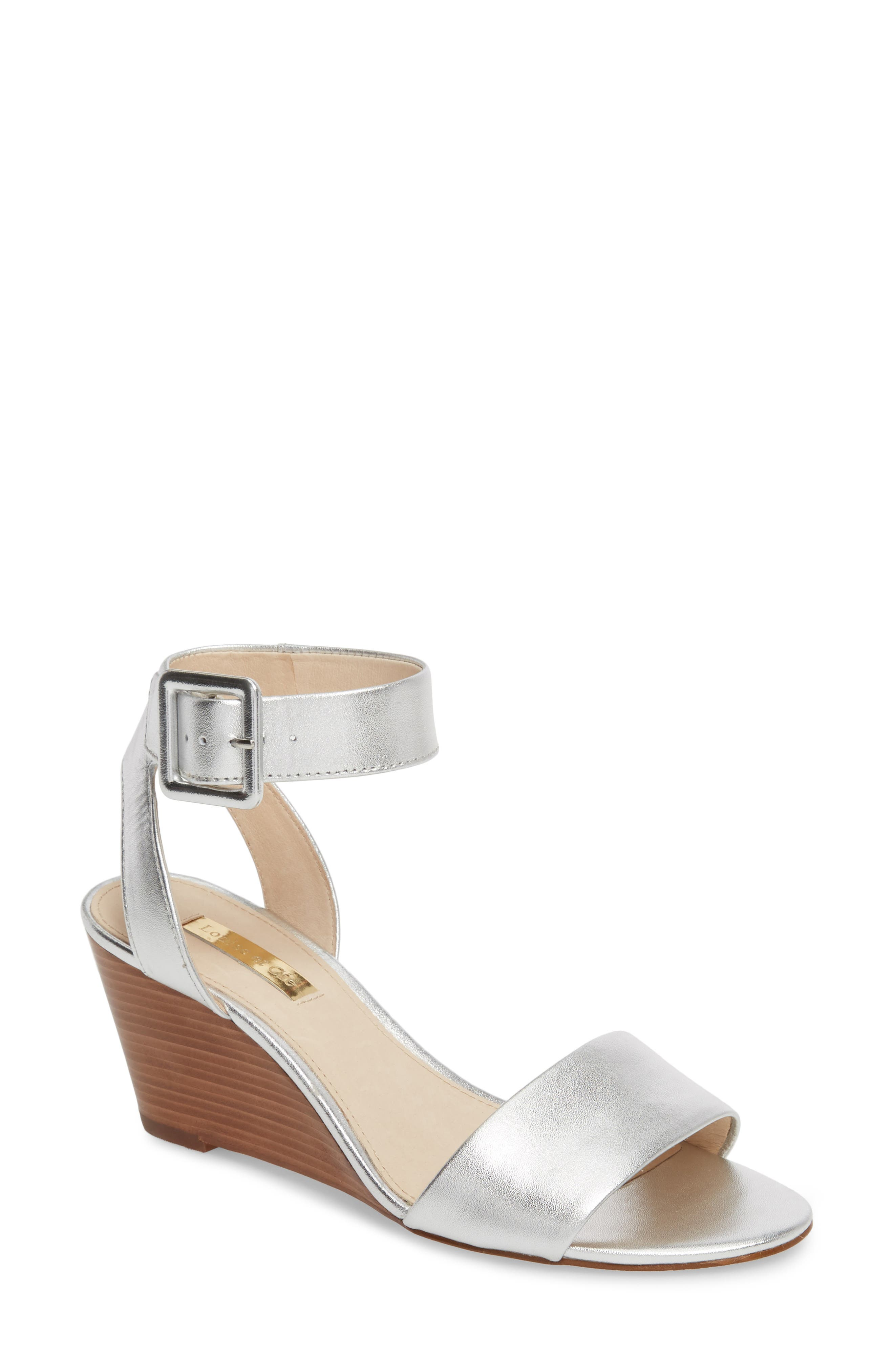 Punya Wedge Sandal,                         Main,                         color, Metallic Silver Leather