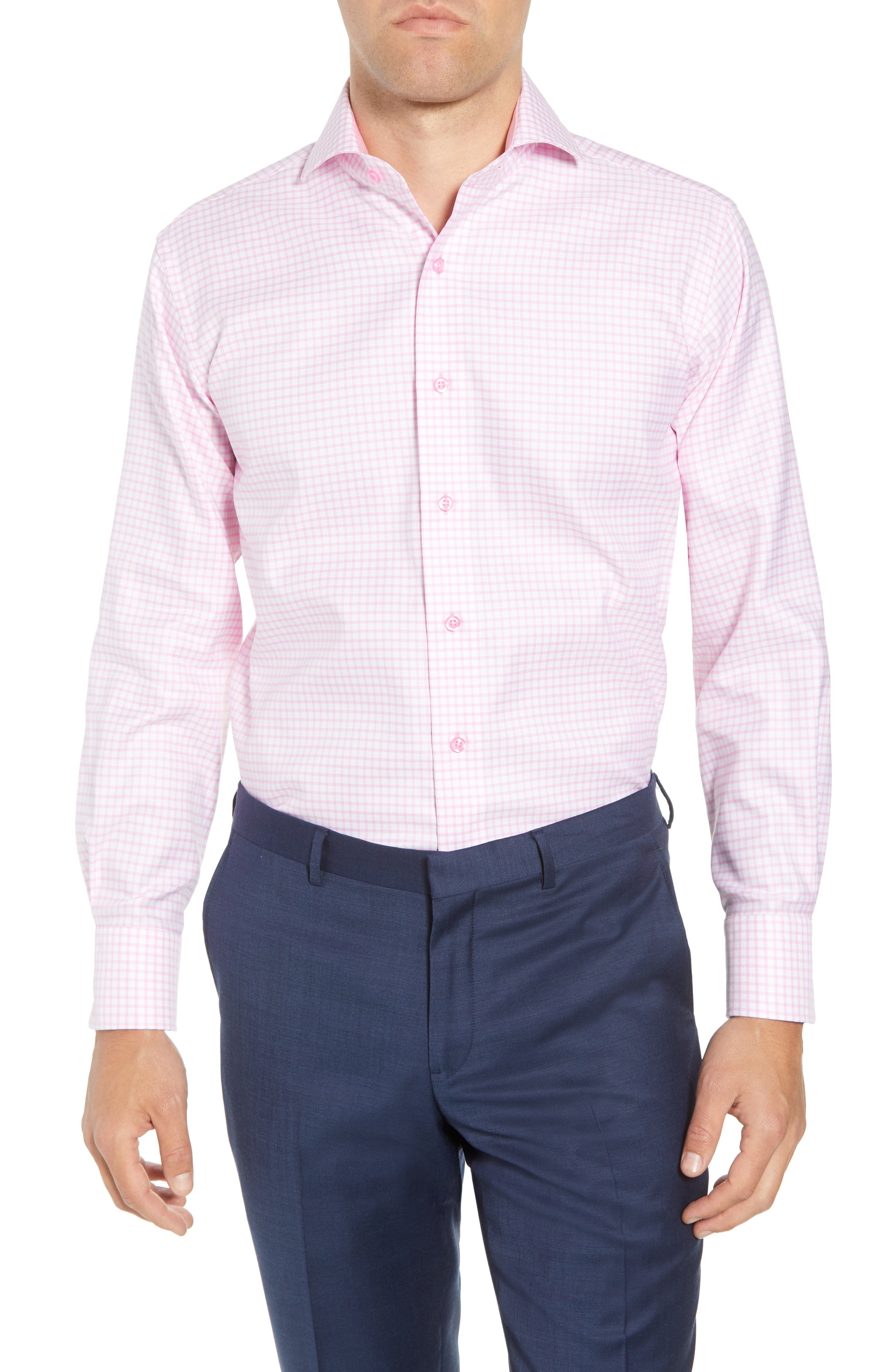 Trim Fit Check Dress Shirt,                         Main,                         color, Pink/ White