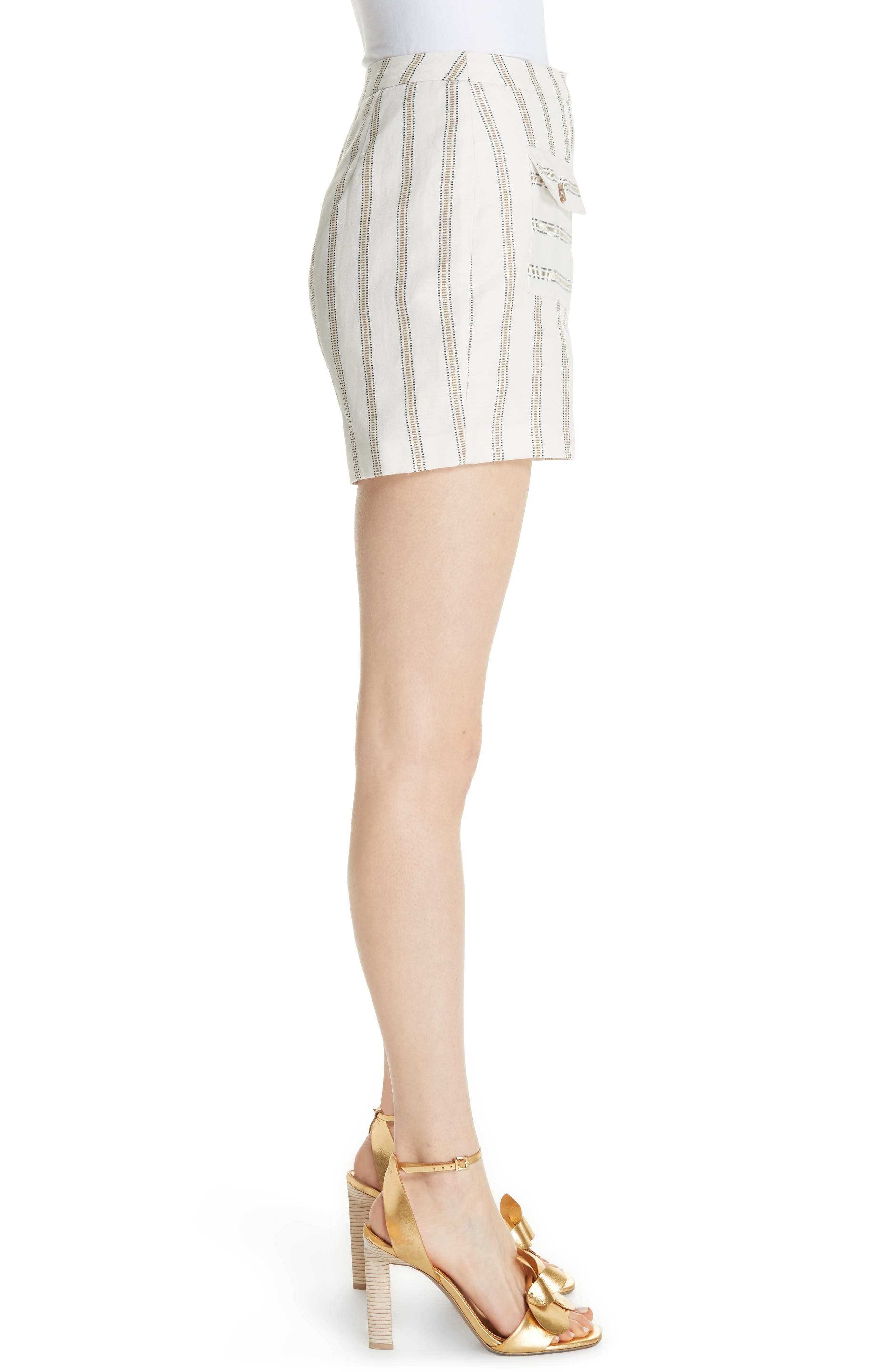 Colour by Numbers Helenn Stripe Shorts,                             Alternate thumbnail 3, color,                             Ivory