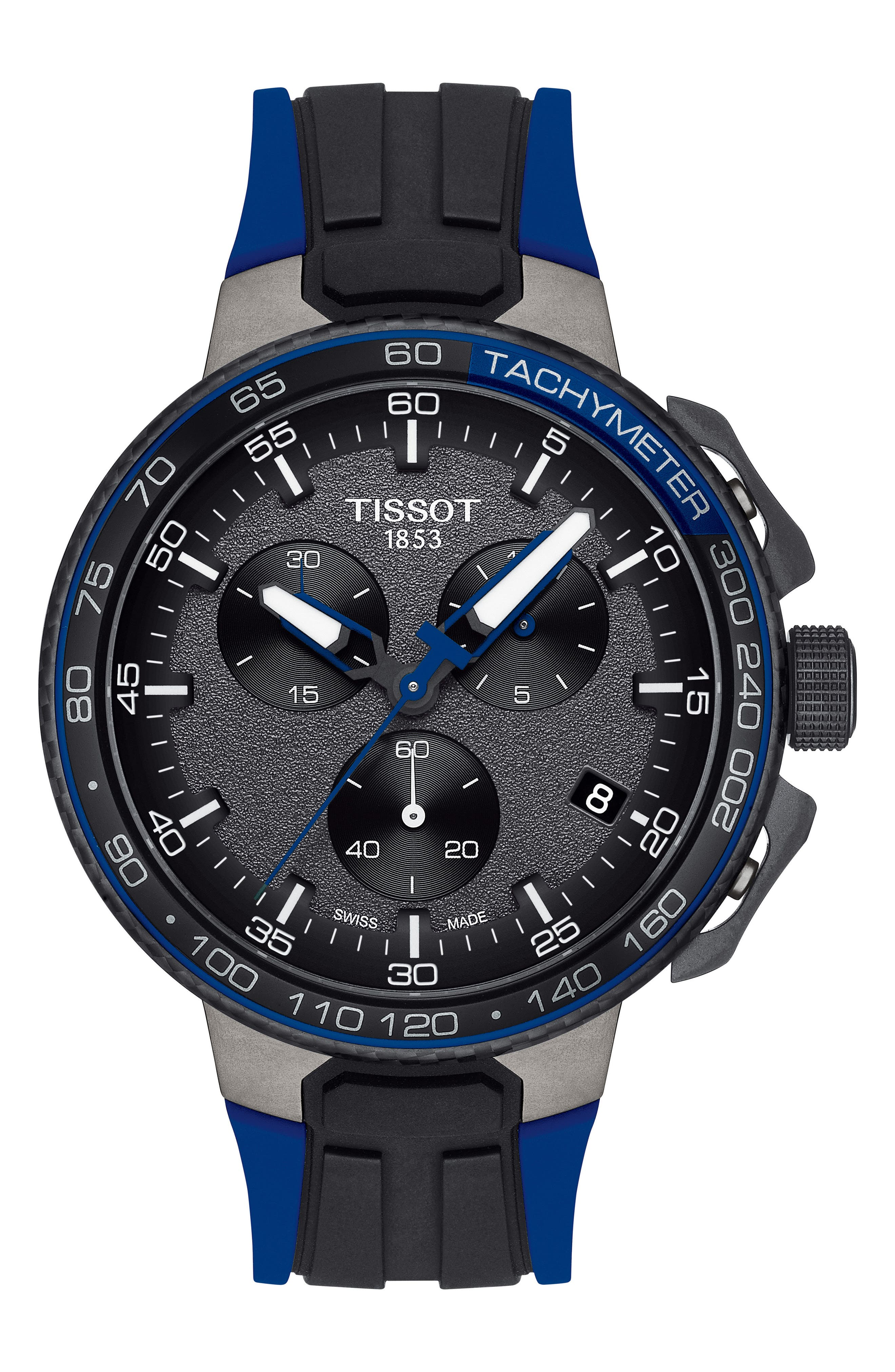 T-Race Cycling Chronograph Watch, 44.5mm,                             Main thumbnail 1, color,                             Blue/ Anthracite/ Black