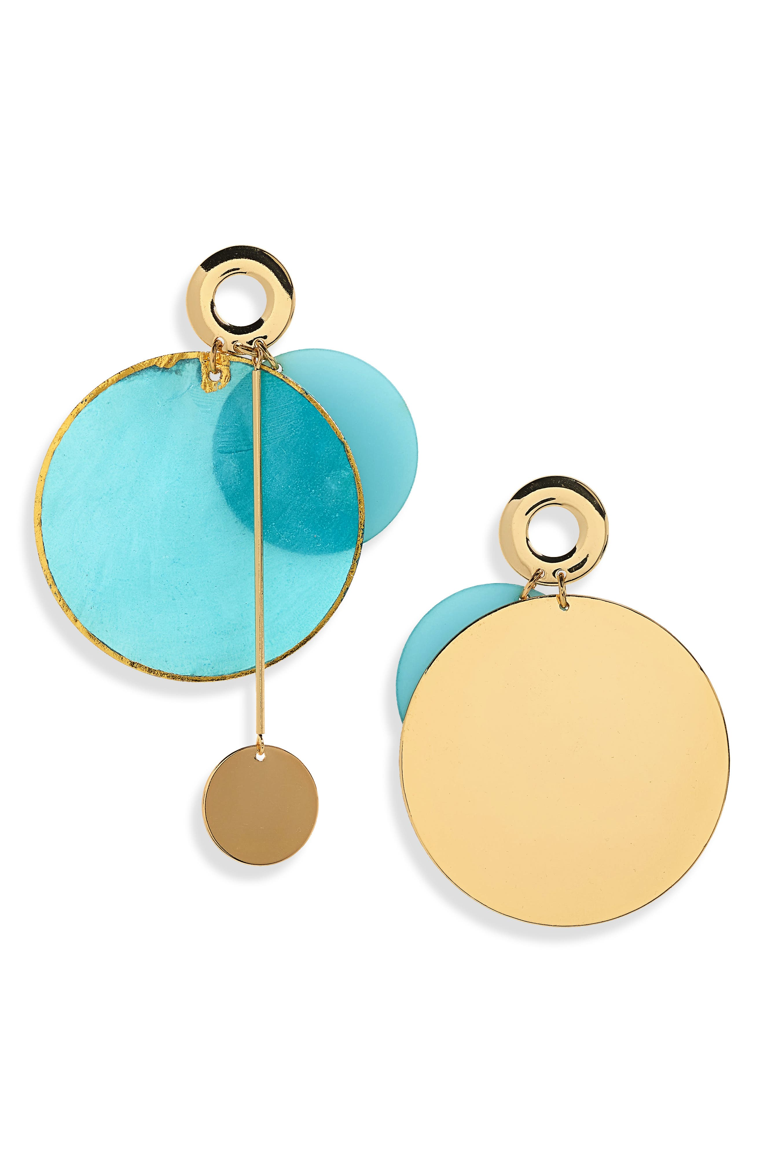 Acetate & Metal Disc Earrings,                         Main,                         color, Gold/ Turquoise