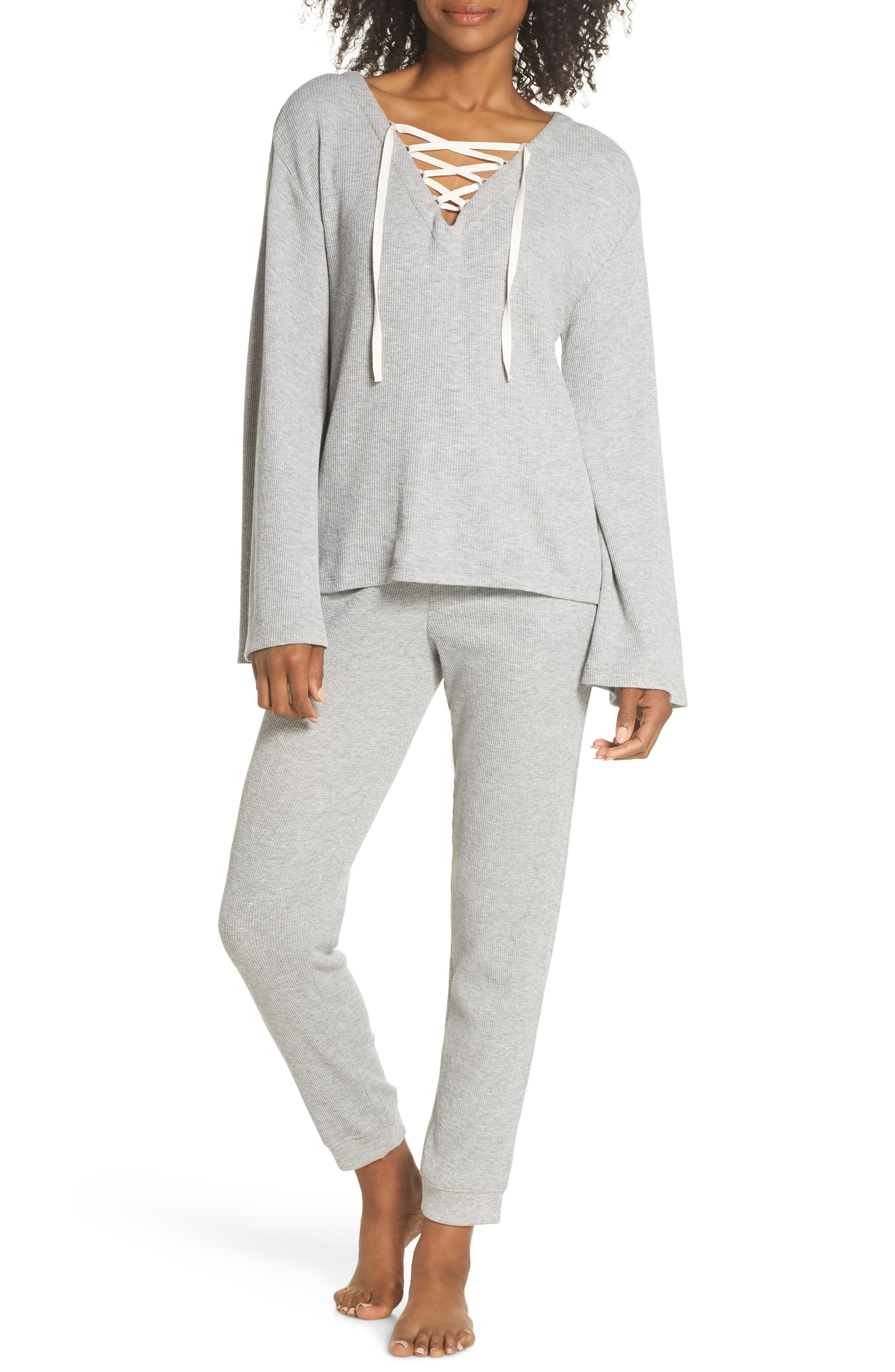 Edie Waffle Knit Lounge Pants,                             Alternate thumbnail 4, color,                             Heather Grey