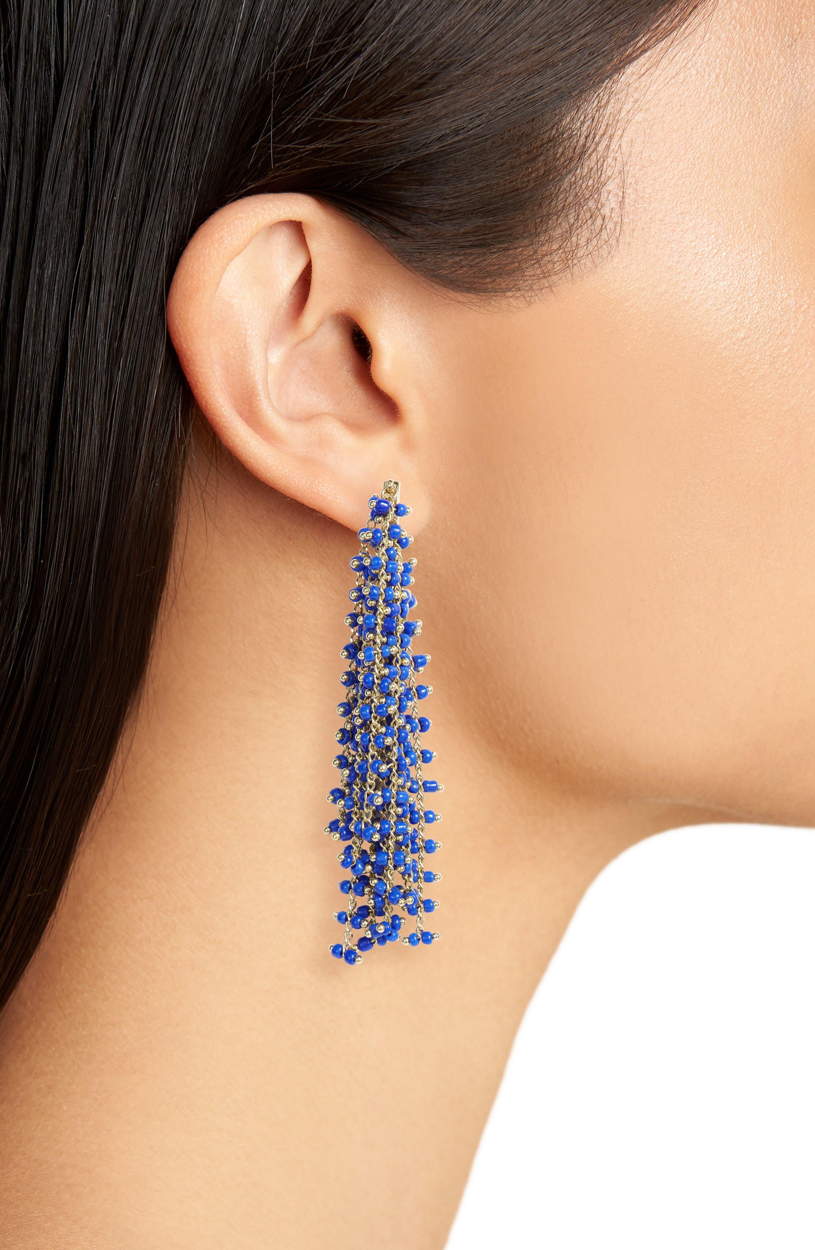 Beaded Fringe Earrings,                             Alternate thumbnail 2, color,                             Gold/ Blue