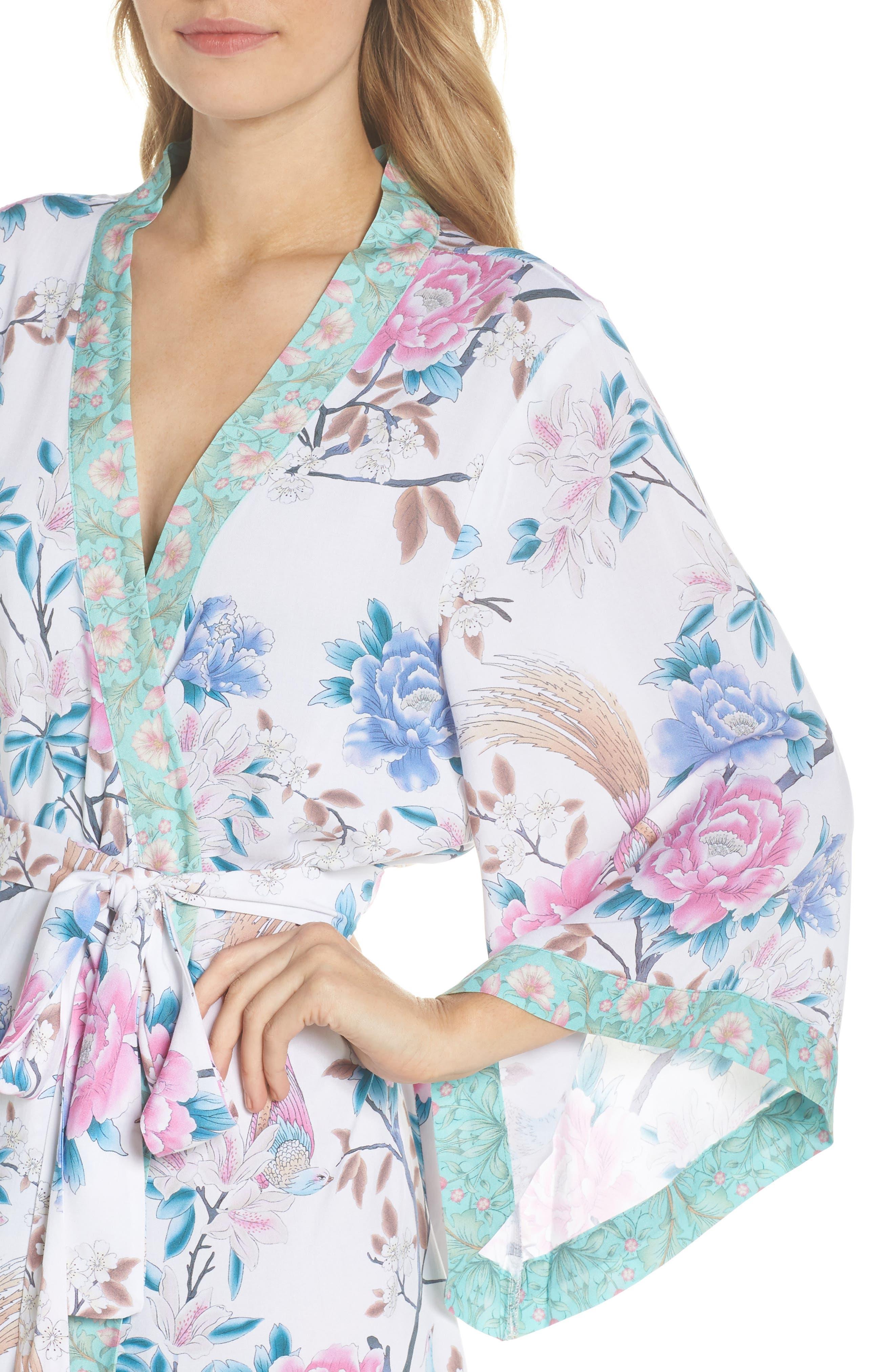 Talulah Boho Short Robe,                             Alternate thumbnail 4, color,                             Ivory Floral