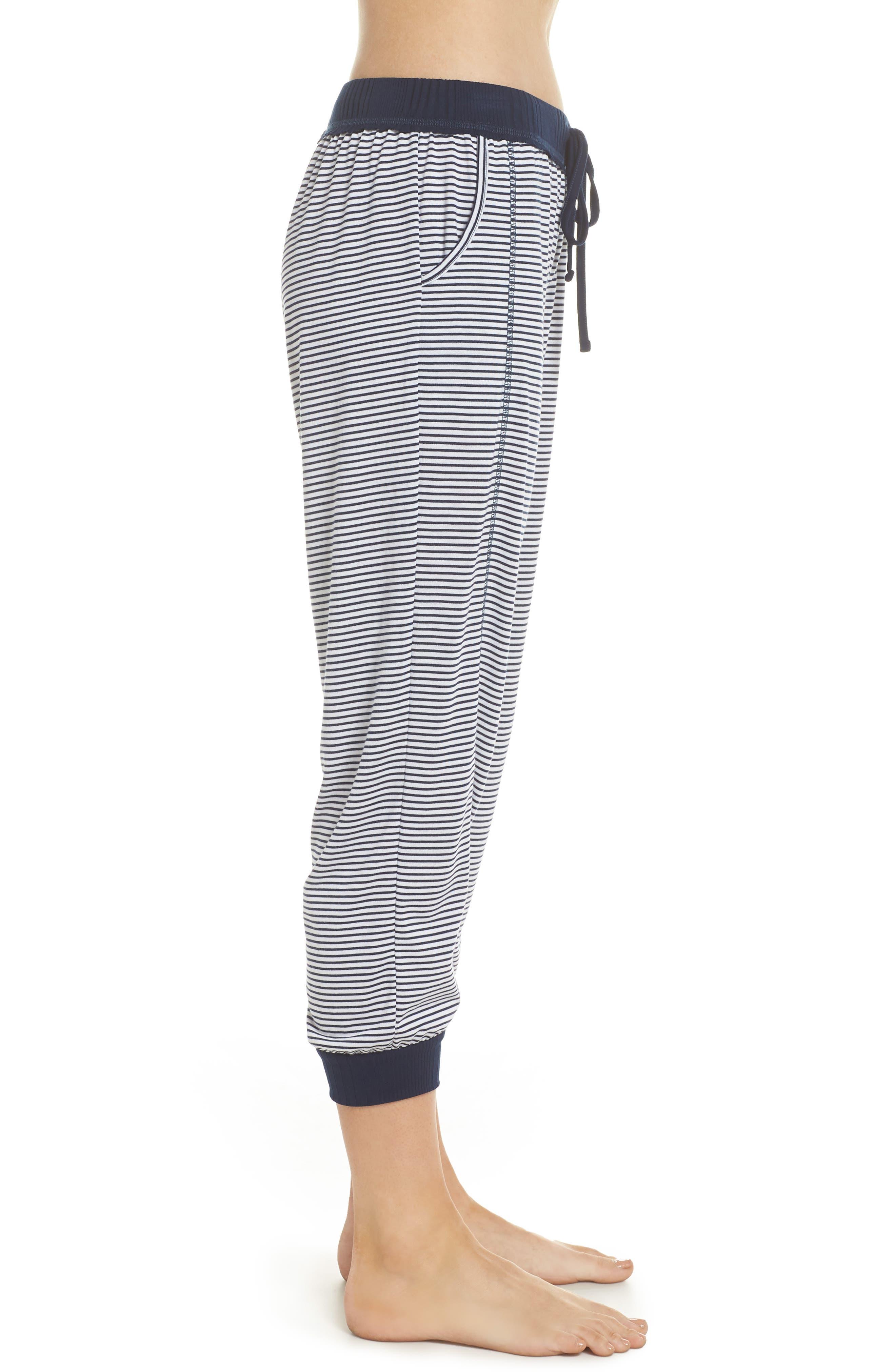 Crop Pajama Pants,                             Alternate thumbnail 3, color,                             Lakeside Stripe