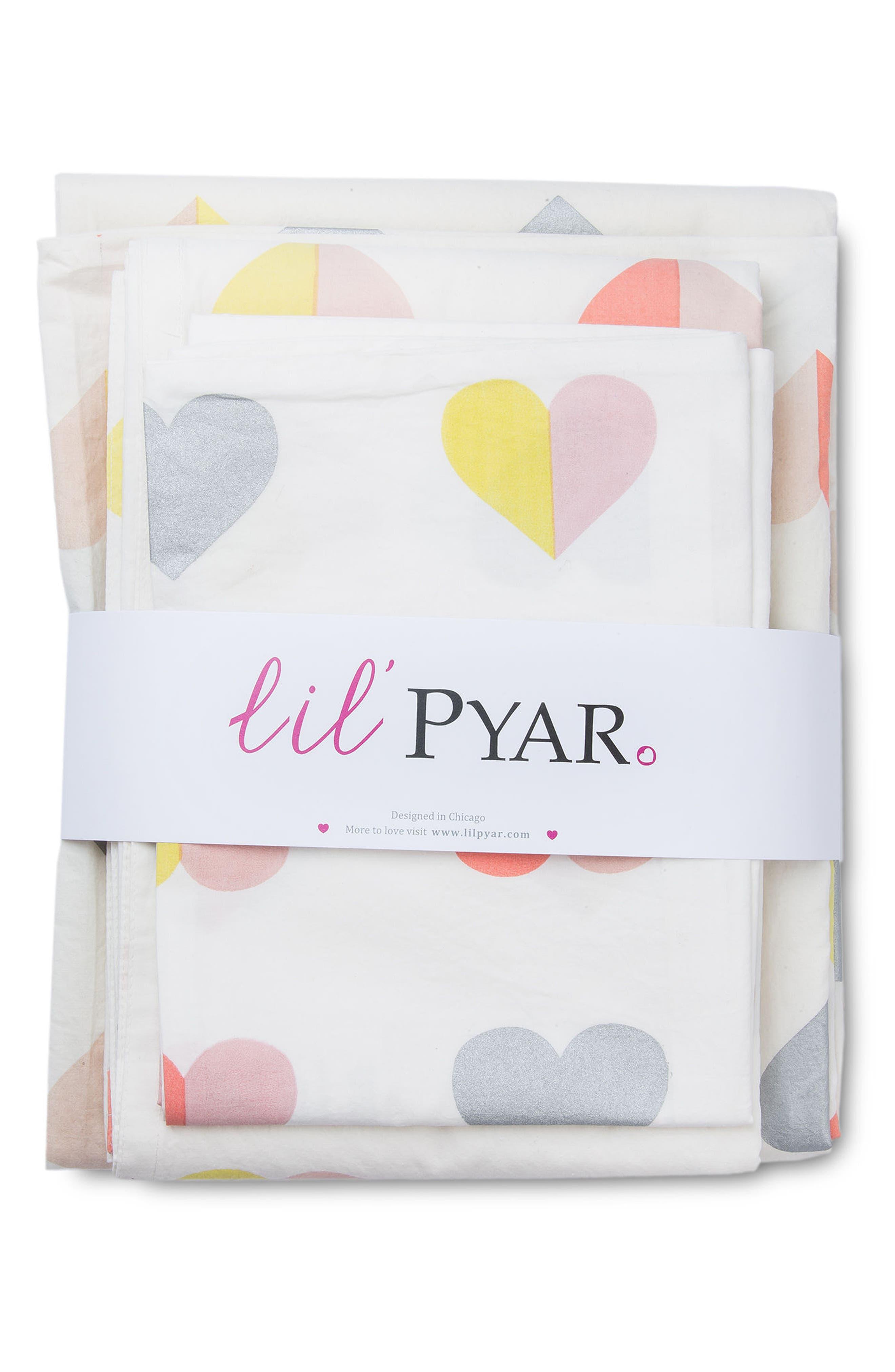 Hearts Twin Sheet & Pillowcase Set,                             Alternate thumbnail 2, color,                             Multi