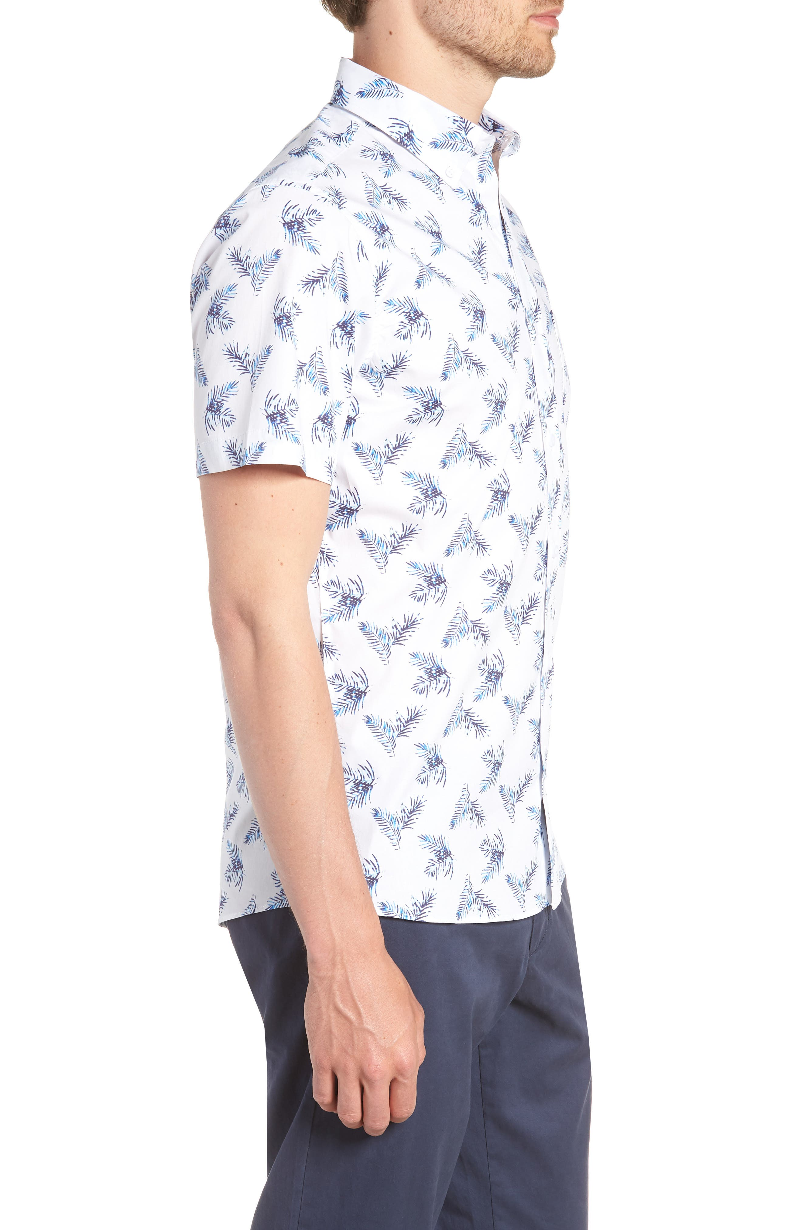 Trim Fit Palm Print Sport Shirt,                             Alternate thumbnail 4, color,                             White Blue Palm
