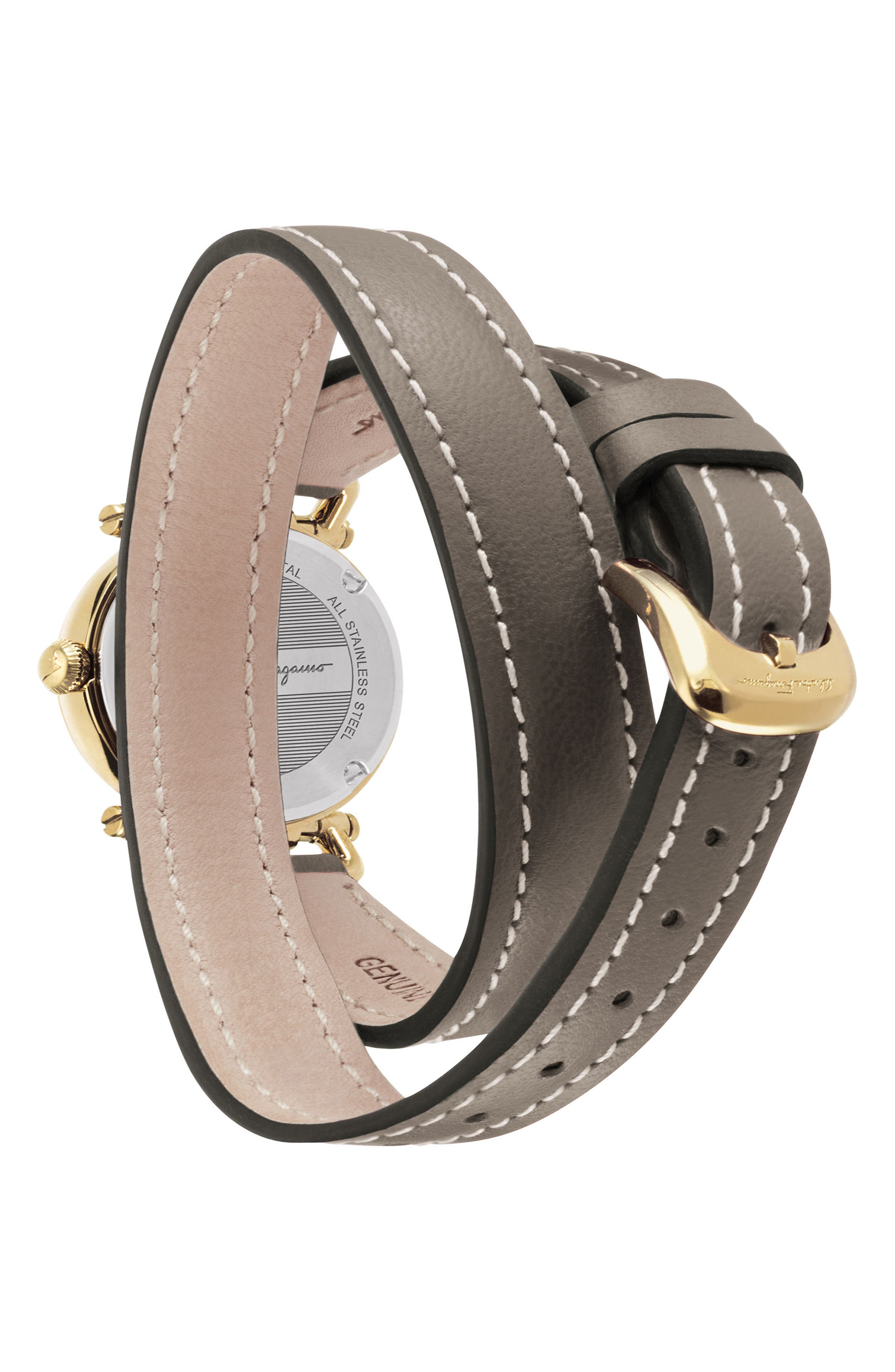 Gancino Leather Strap Watch, 26mm,                             Alternate thumbnail 2, color,                             Brown/ Gold