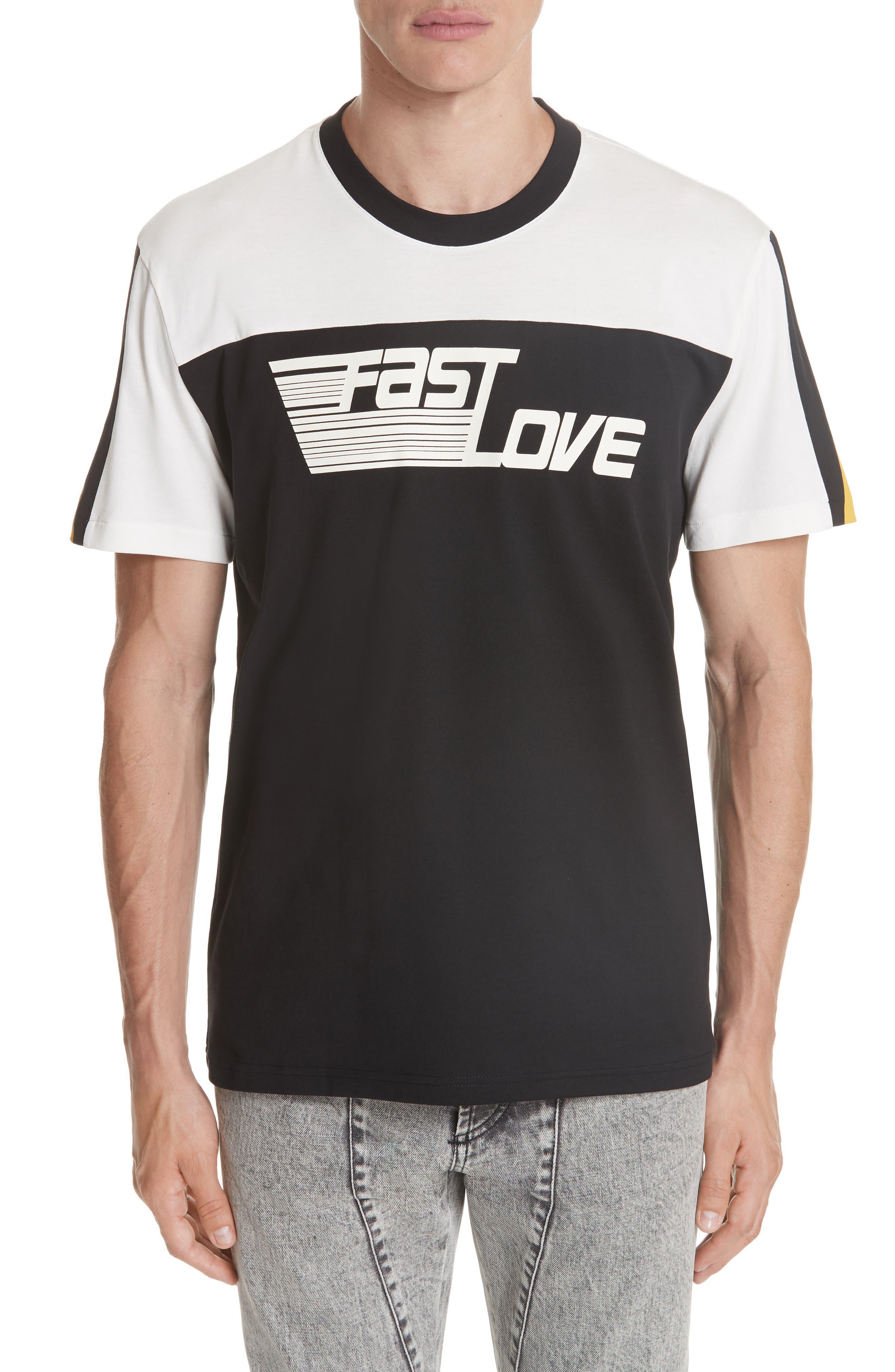 Fast Love Graphic T-Shirt,                             Main thumbnail 1, color,                             Black/ Beige