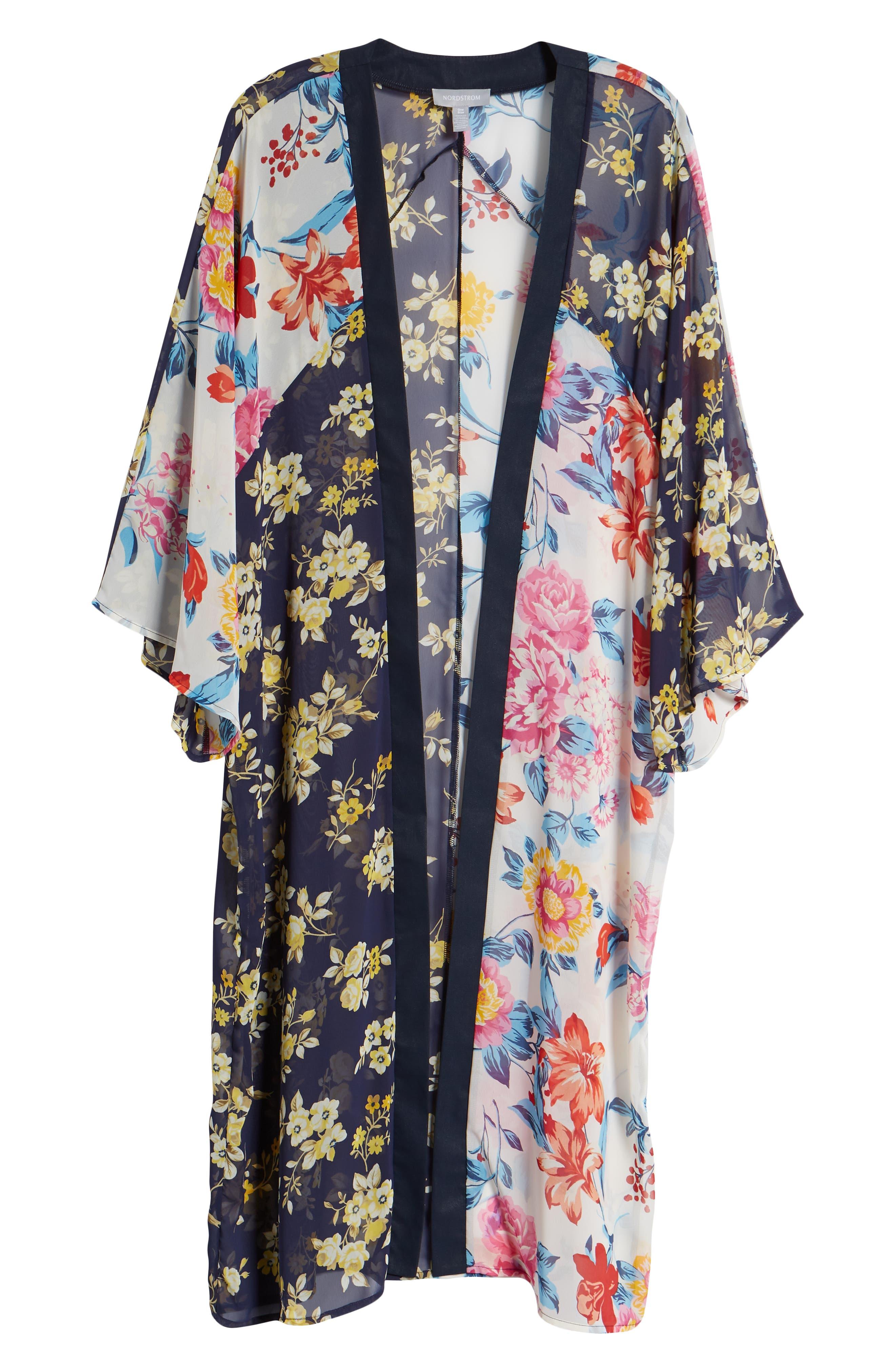 Mix Print Kimono,                             Alternate thumbnail 6, color,                             Multi Combo