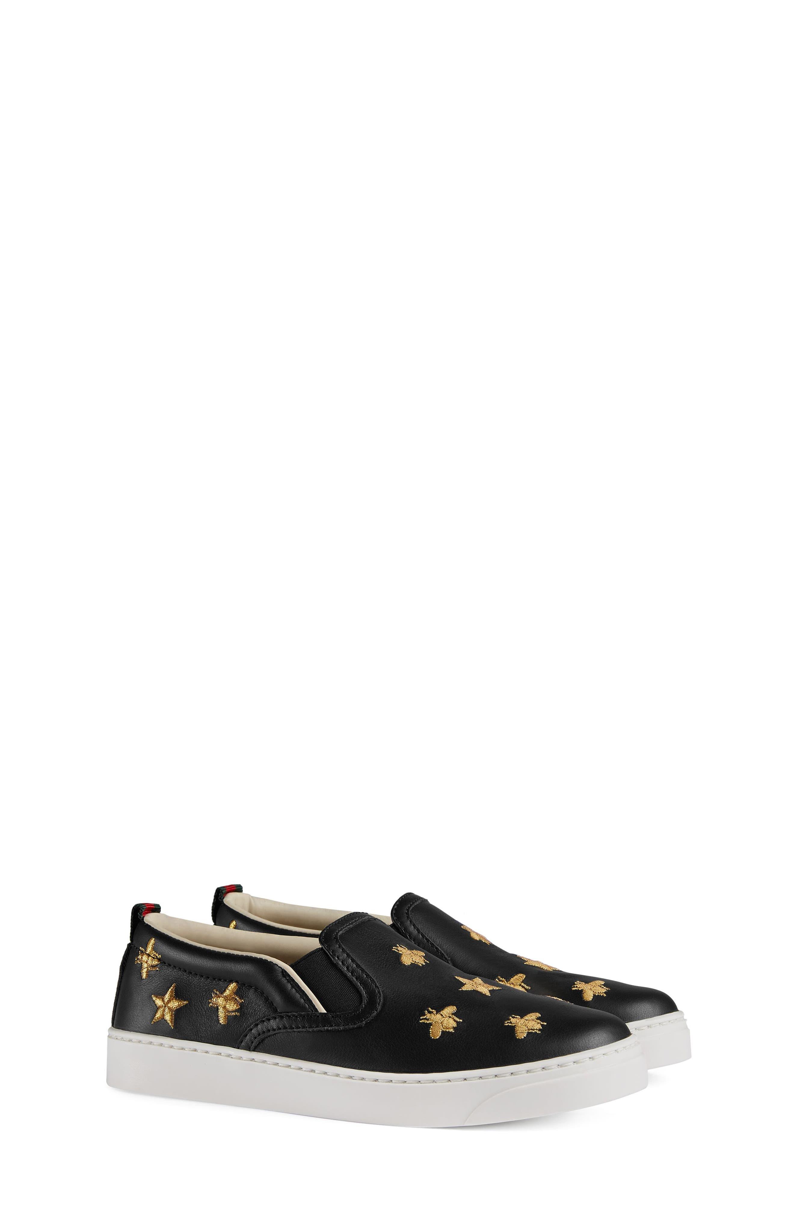 Dublin Bees and Stars Slip-On Sneaker,                             Main thumbnail 1, color,                             Black/Gold Stars