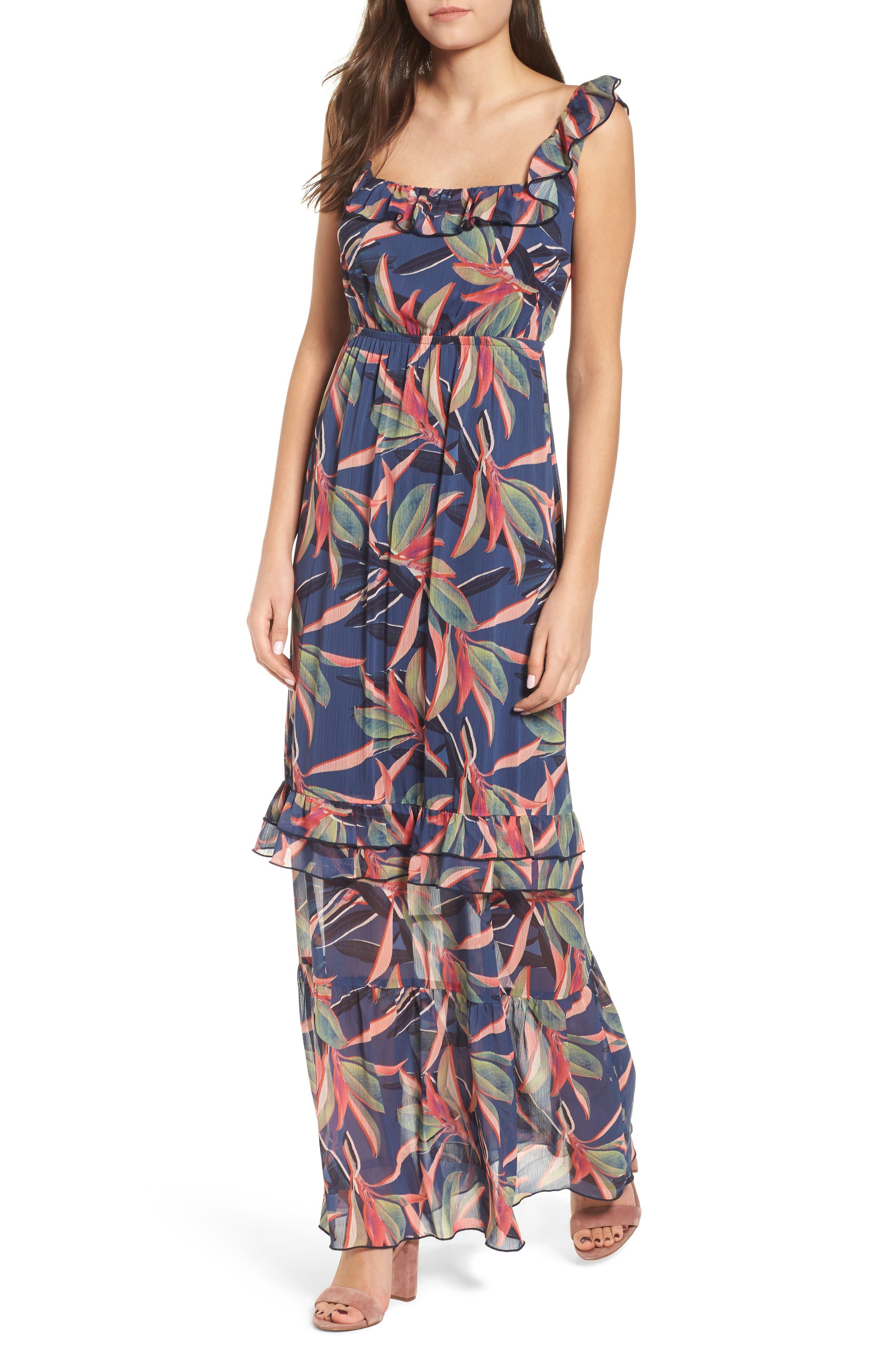 Ruffle Maxi Dress,                             Main thumbnail 1, color,                             Multi