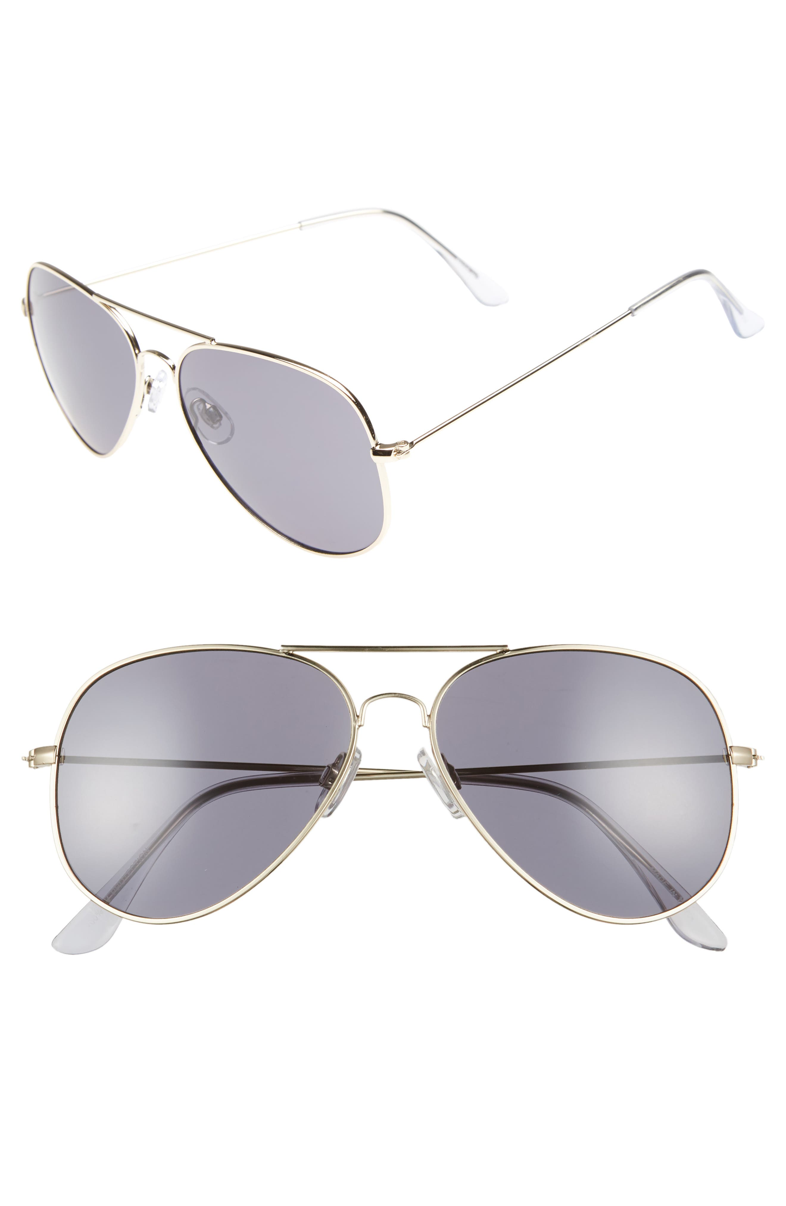 Mirrored Aviator 57mm Sunglasses,                             Main thumbnail 1, color,                             Gold/ Smoke
