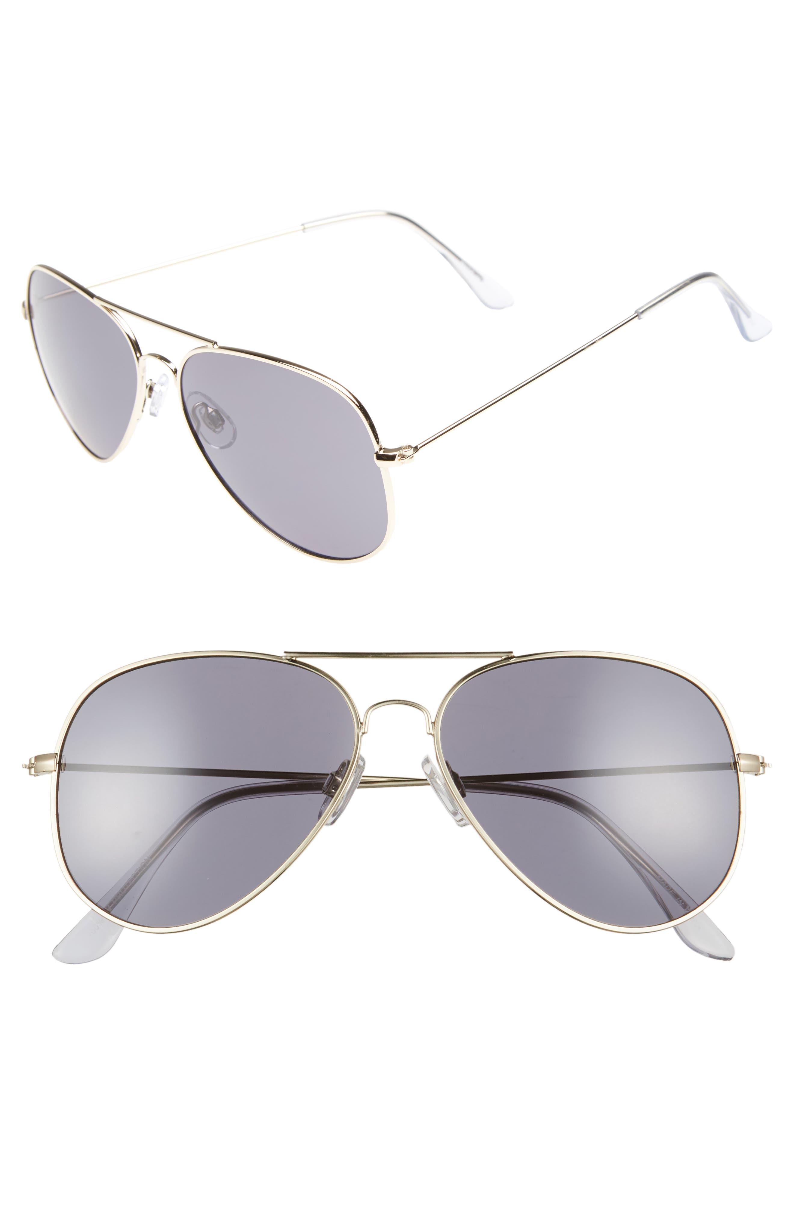 Mirrored Aviator 57mm Sunglasses,                         Main,                         color, Gold/ Smoke
