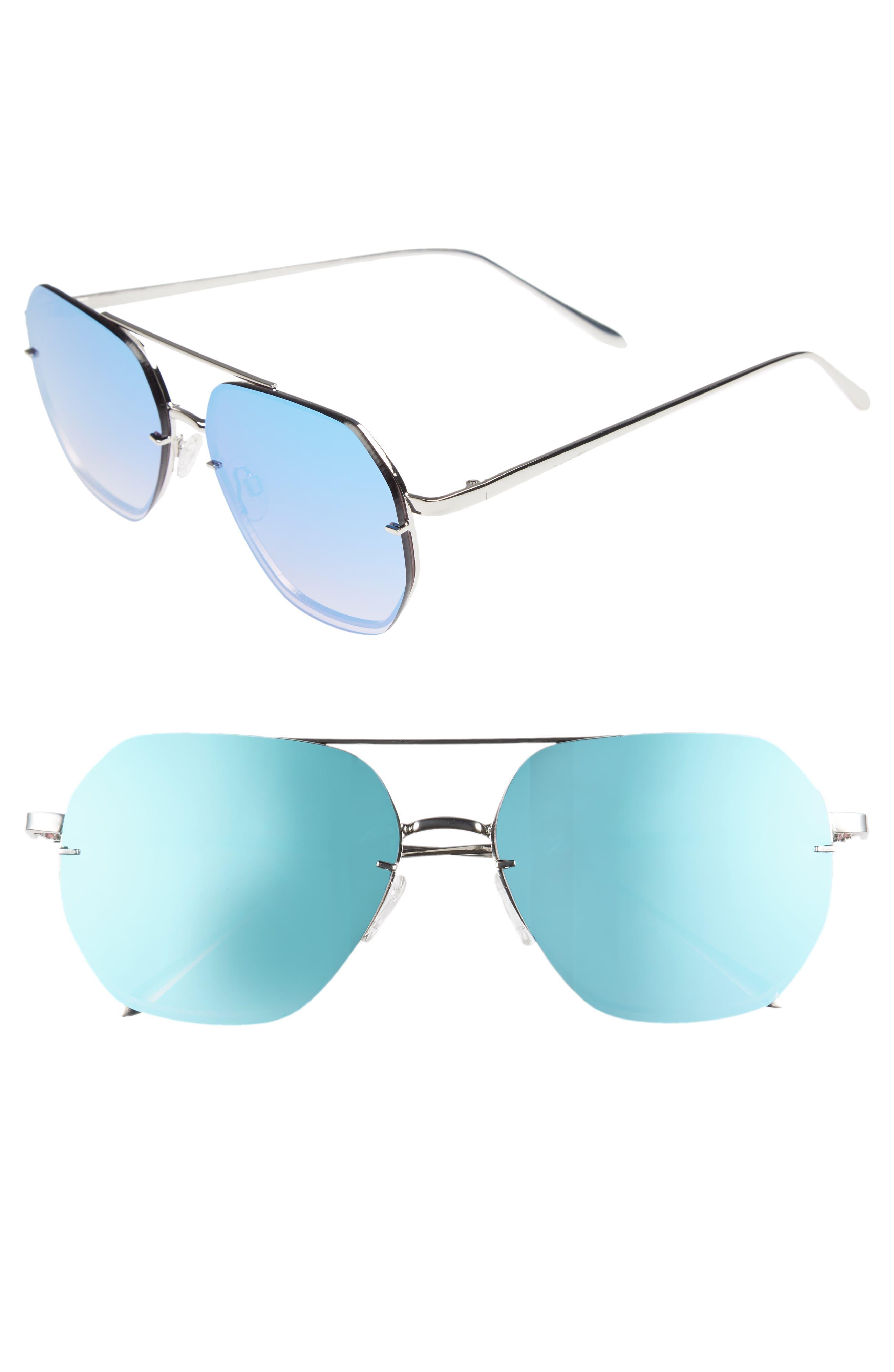 62mm Metal Flat Geo Aviator Sunglasses,                         Main,                         color, Silver/ Blue