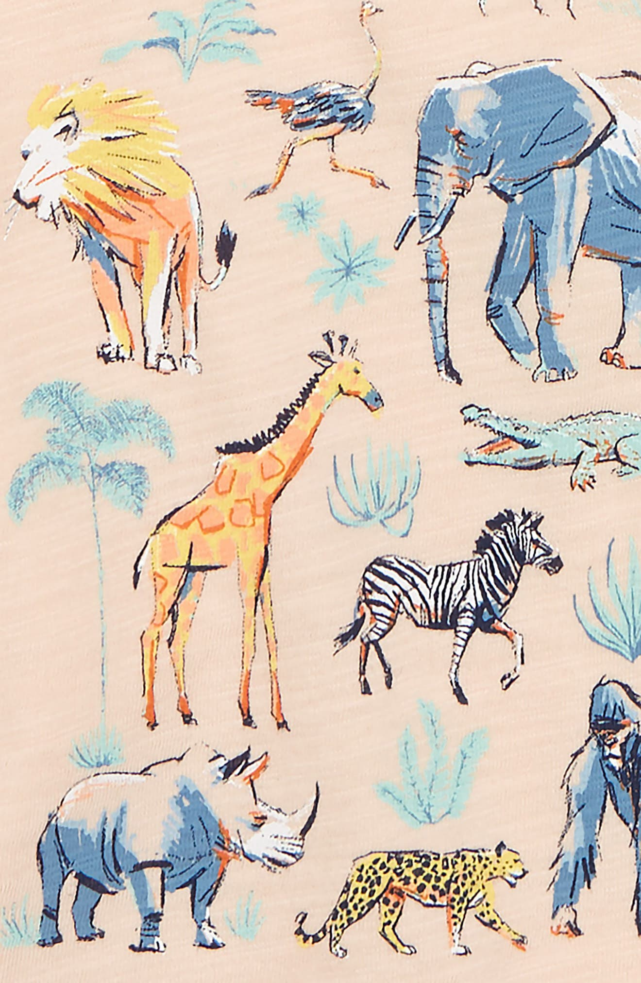 Animals of Africa Graphic Tee,                             Alternate thumbnail 2, color,                             Peach