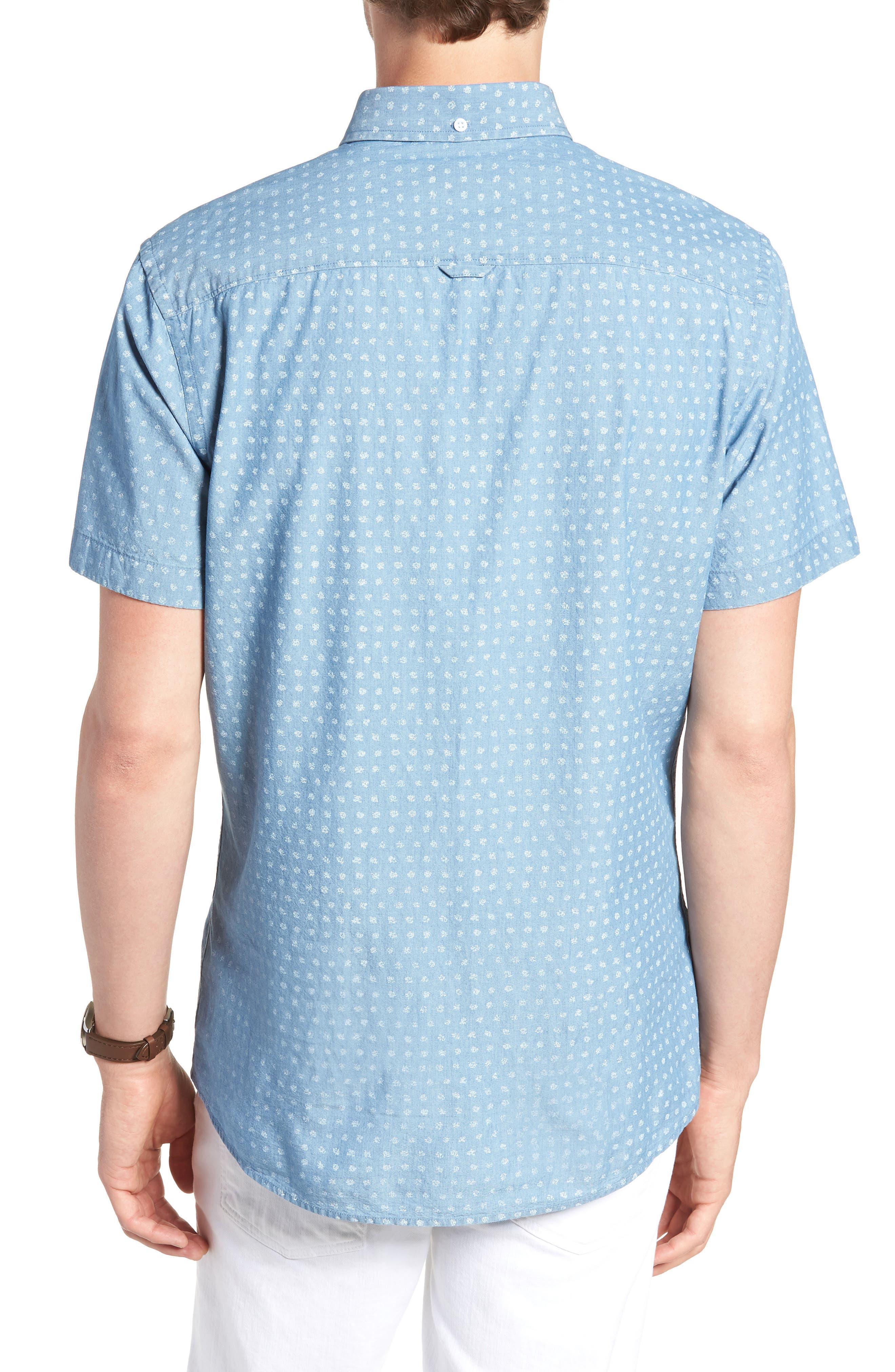 Ivy Trim Fit Dot Sport Shirt,                             Alternate thumbnail 3, color,                             Blue Chambray Blurred Dot