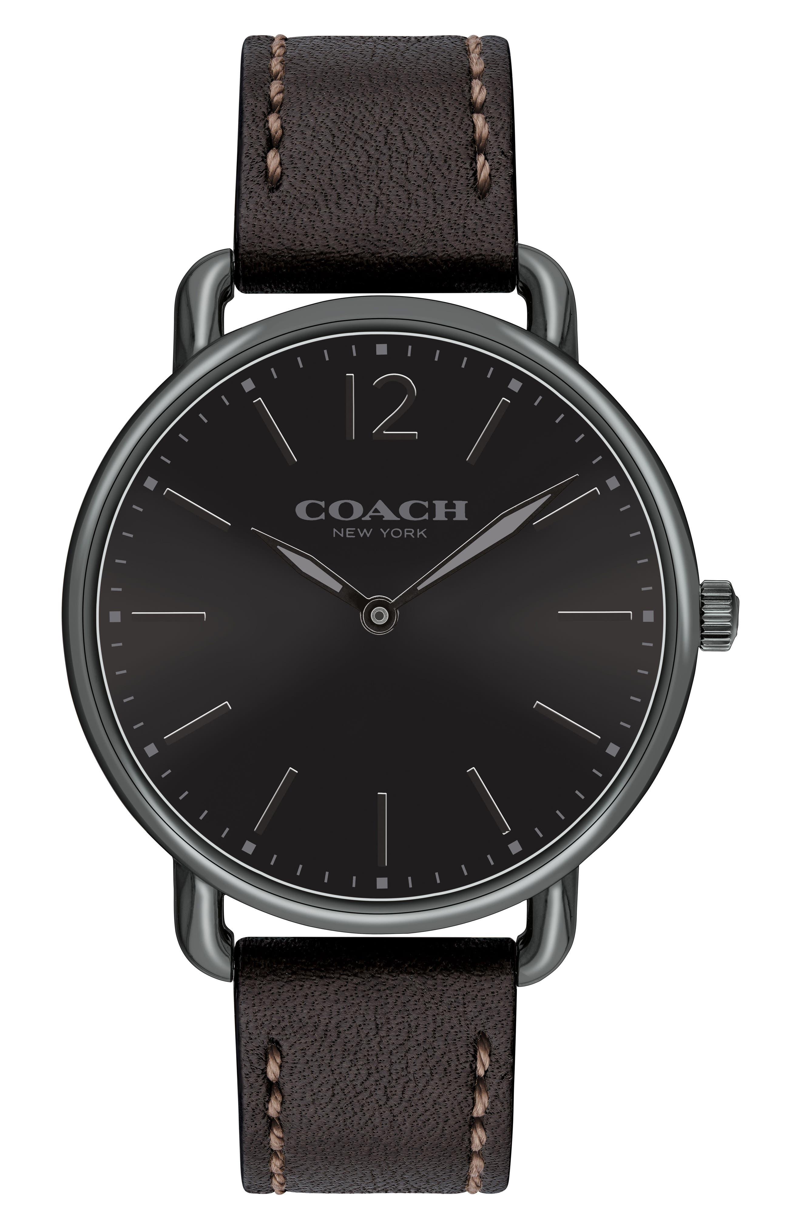 Delancey Leather Strap Watch, 40mm,                             Main thumbnail 1, color,                             Black
