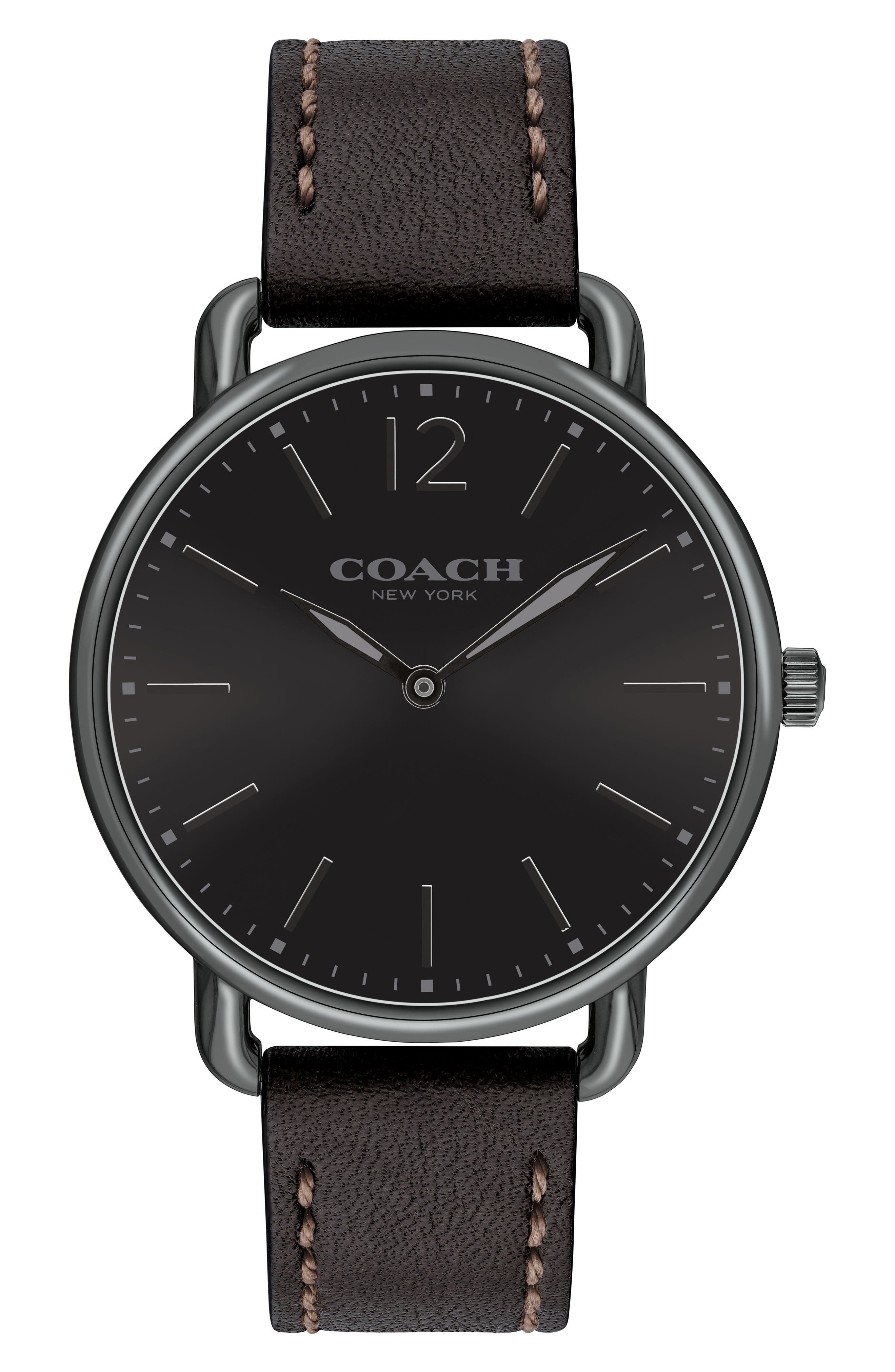 Delancey Leather Strap Watch, 40mm,                         Main,                         color, Black