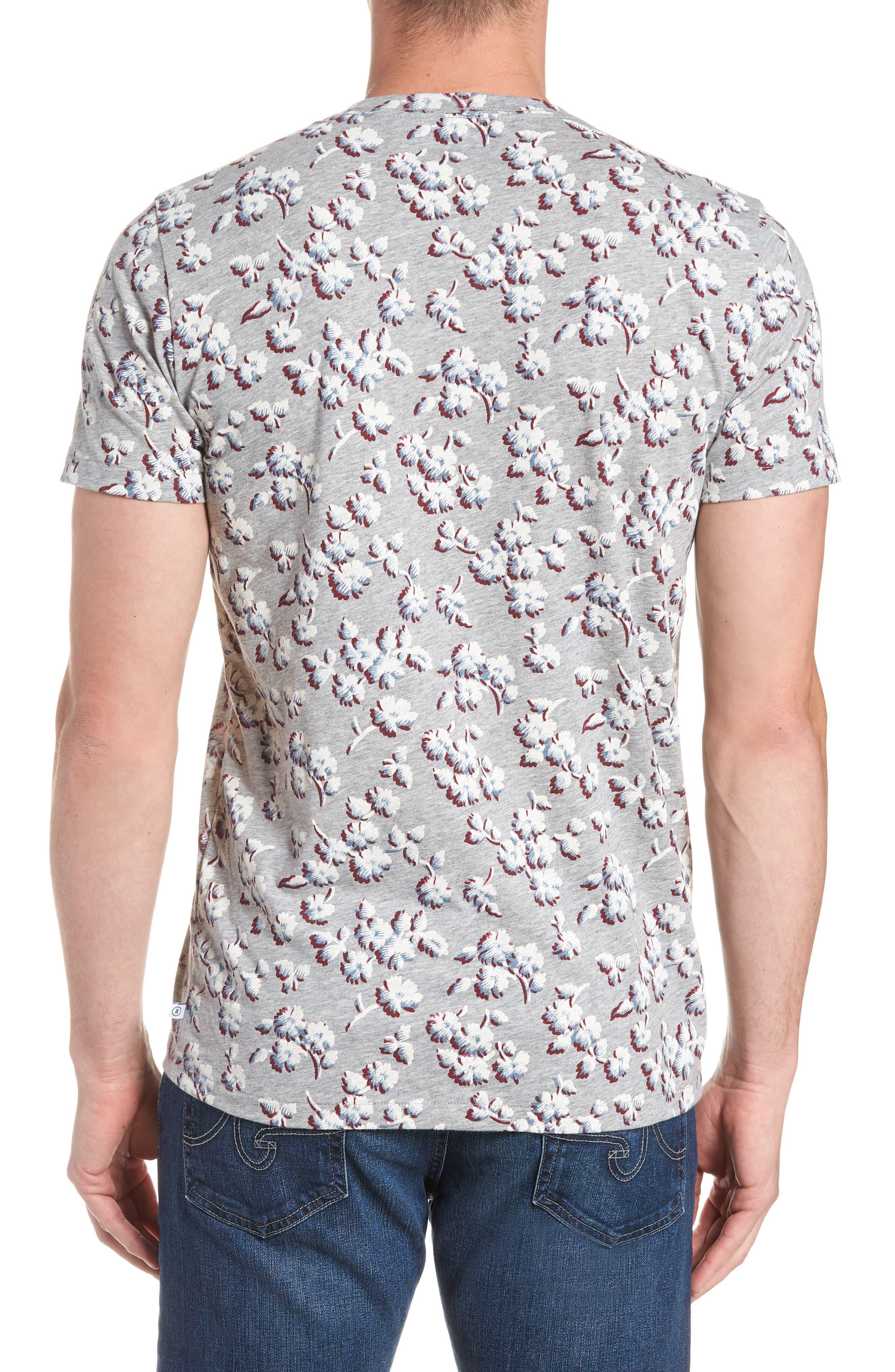 Slim Fit Floral Pocket T-Shirt,                             Alternate thumbnail 2, color,                             Grey/ La Rioja/ Blue