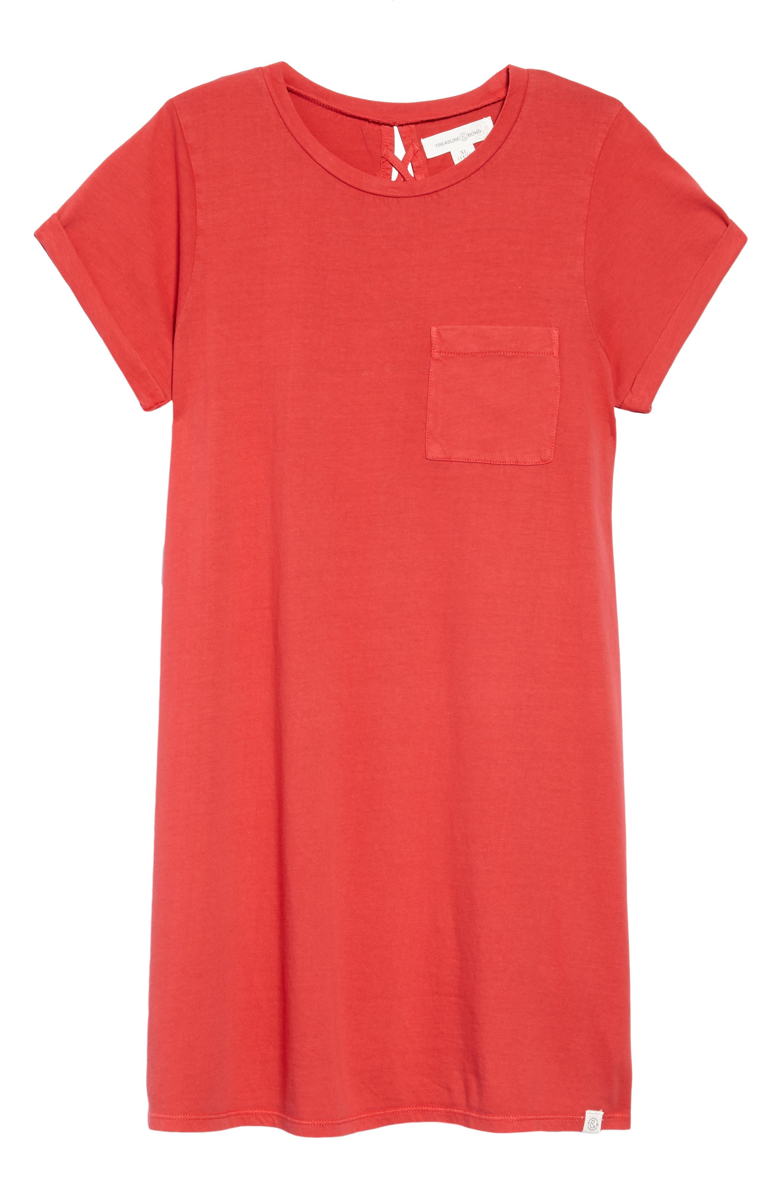 Washed T-Shirt Dress,                         Main,                         color, Red Sage