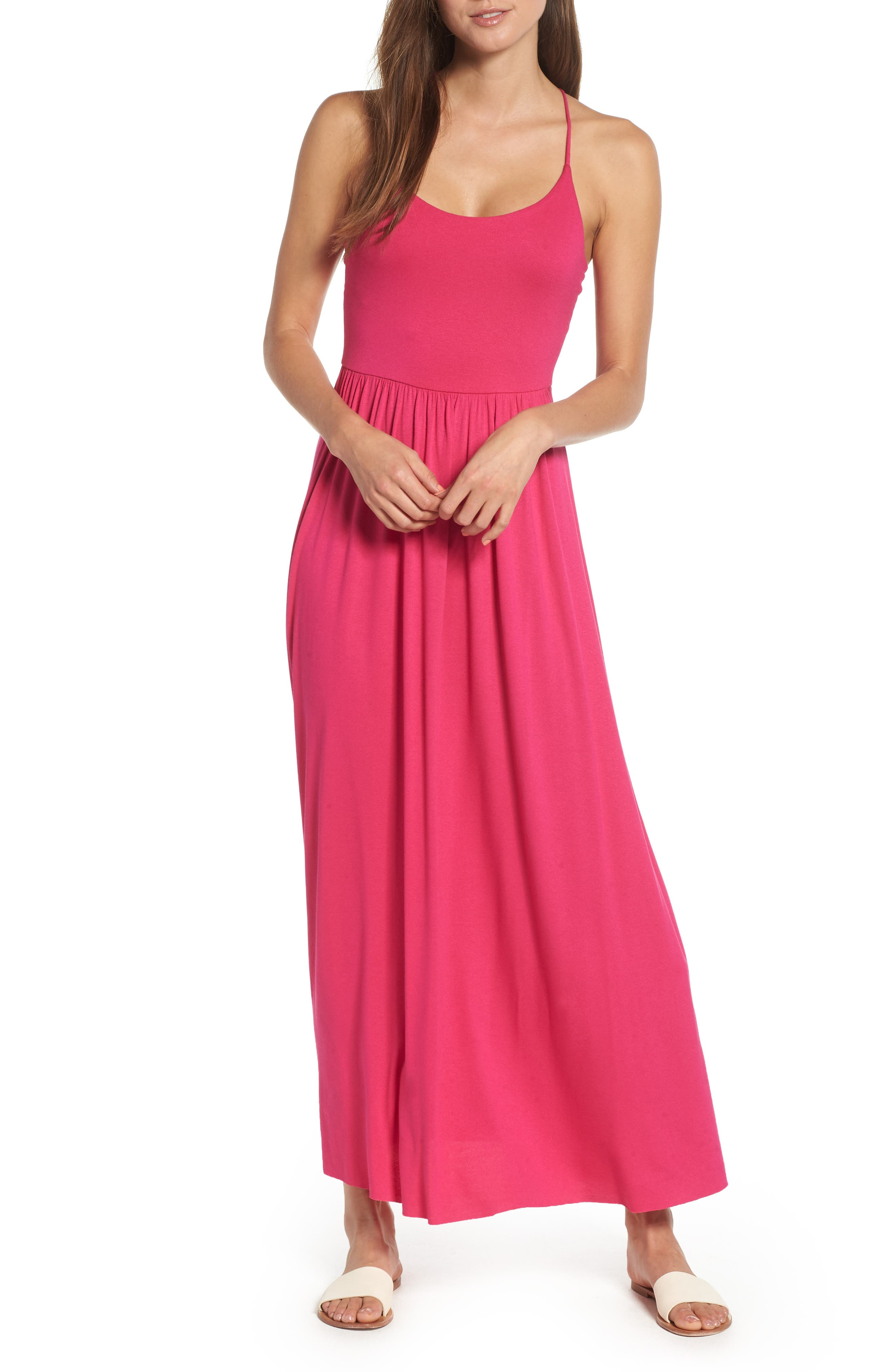Strappy Back Maxi Dress,                             Main thumbnail 1, color,                             Wild Pink