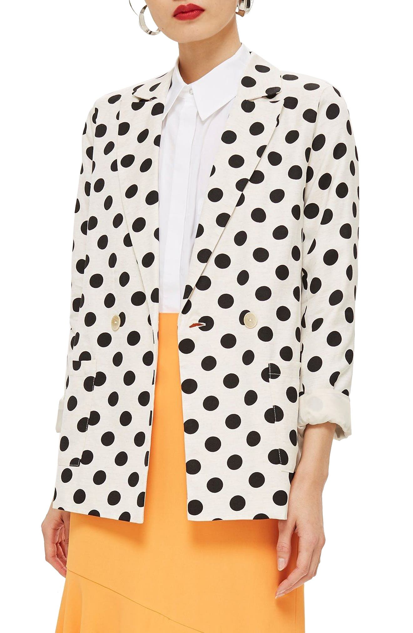 Polka Dot Blazer,                             Main thumbnail 1, color,                             White Multi