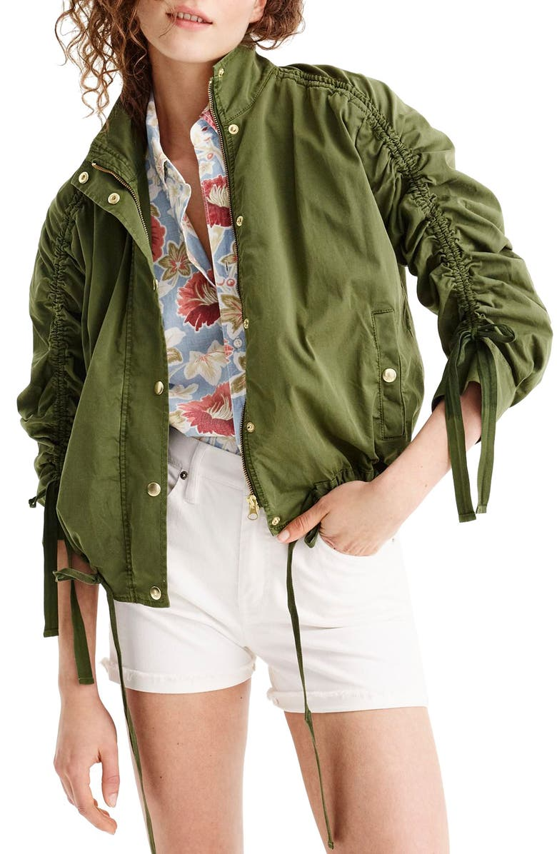 Ruched Sleeve Field Jacket