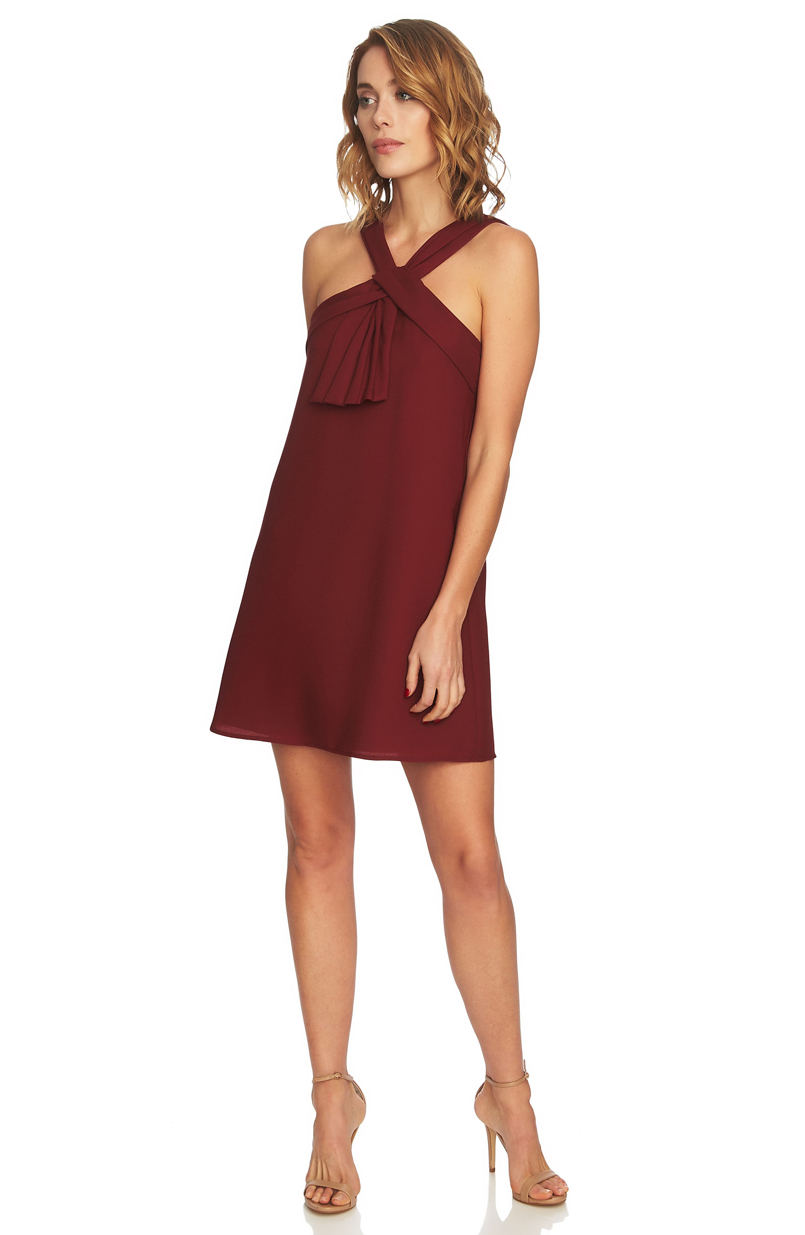 Briana Pleat Front Shift Dress,                             Alternate thumbnail 3, color,                             Cherry Wine
