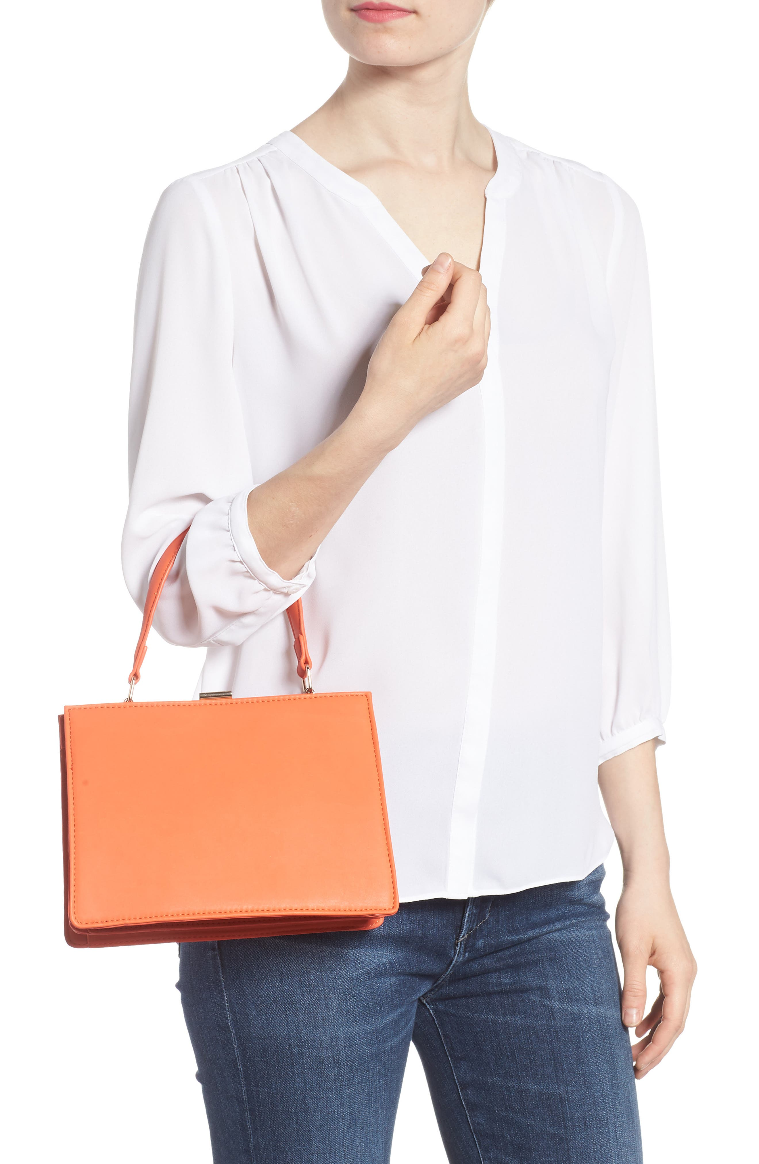 Faux Leather Frame Handbag,                             Alternate thumbnail 2, color,                             Red