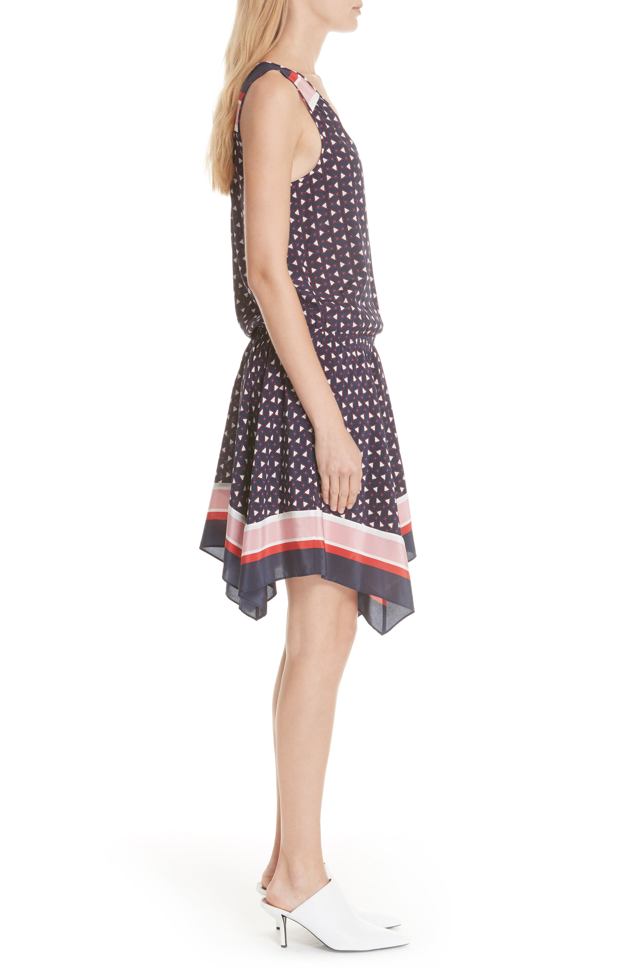 Ginabel Silk Handkerchief Dress,                             Alternate thumbnail 3, color,                             Dark Navy