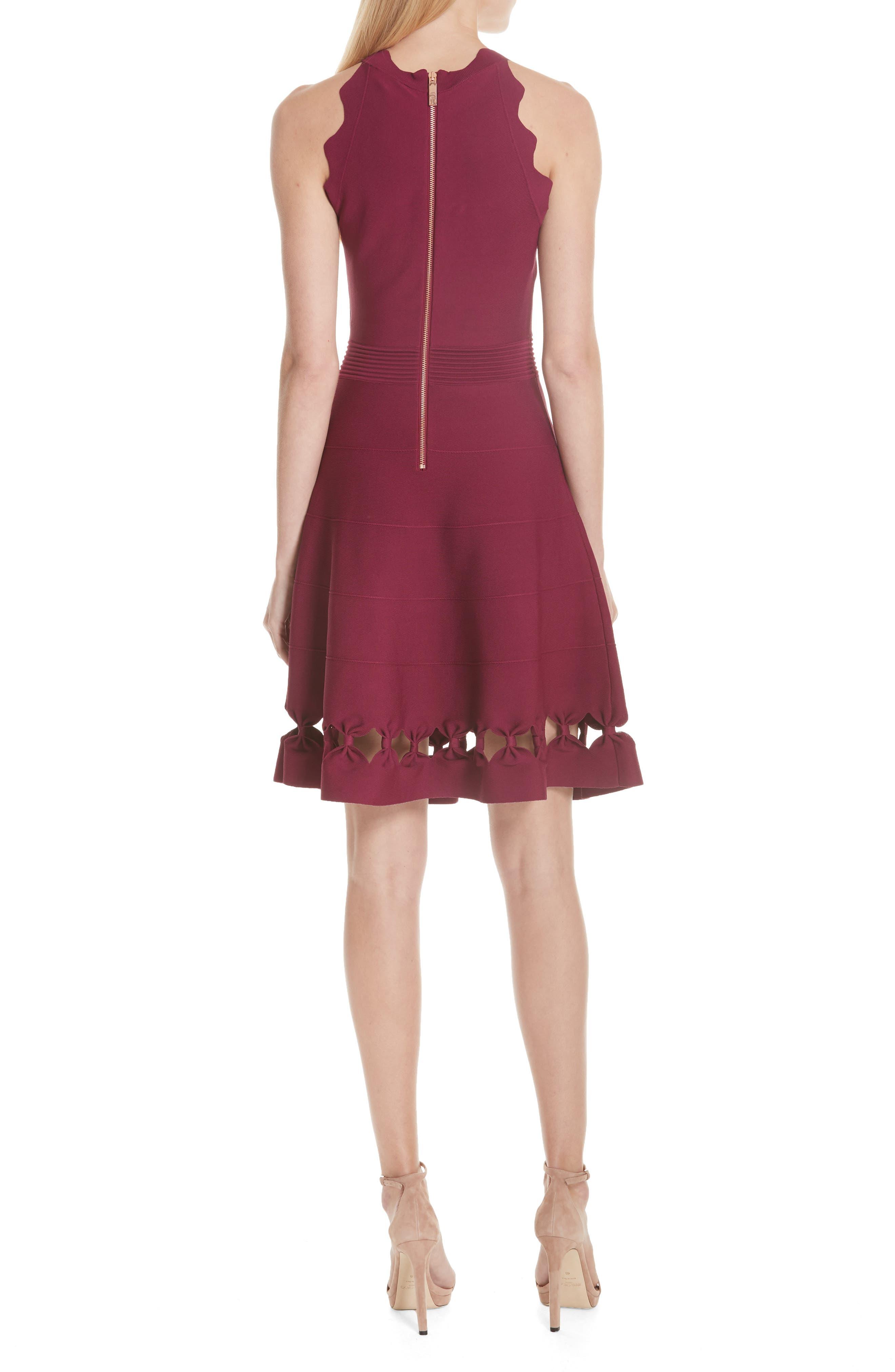 Cherina Bow Detail Fit & Flare Knit Dress,                             Alternate thumbnail 2, color,                             Maroon
