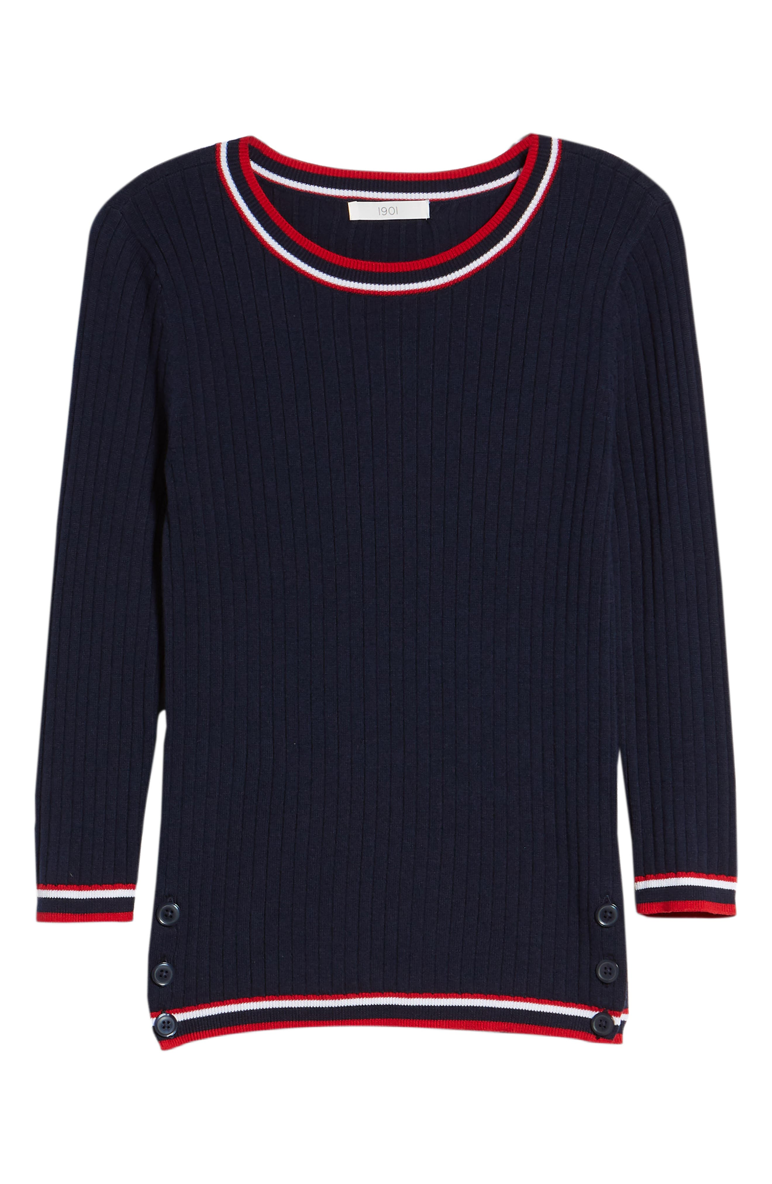 Tipped Cotton Blend Ribbed Sweater,                             Alternate thumbnail 6, color,                             Navy Peacoat