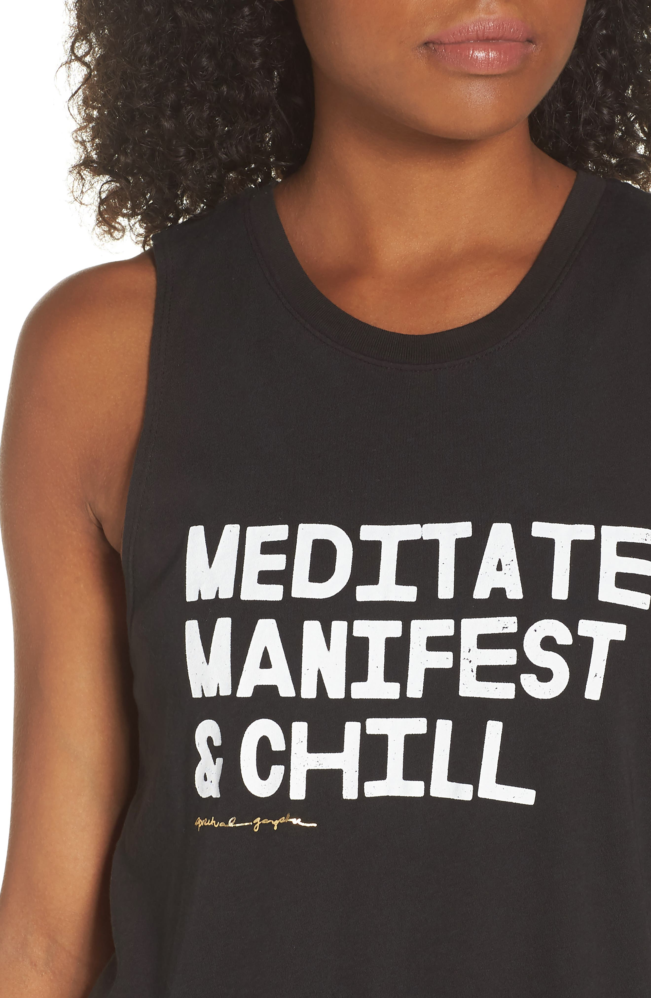 Meditate, Manifest & Chill Muscle Tee,                             Alternate thumbnail 4, color,                             Vntg Black